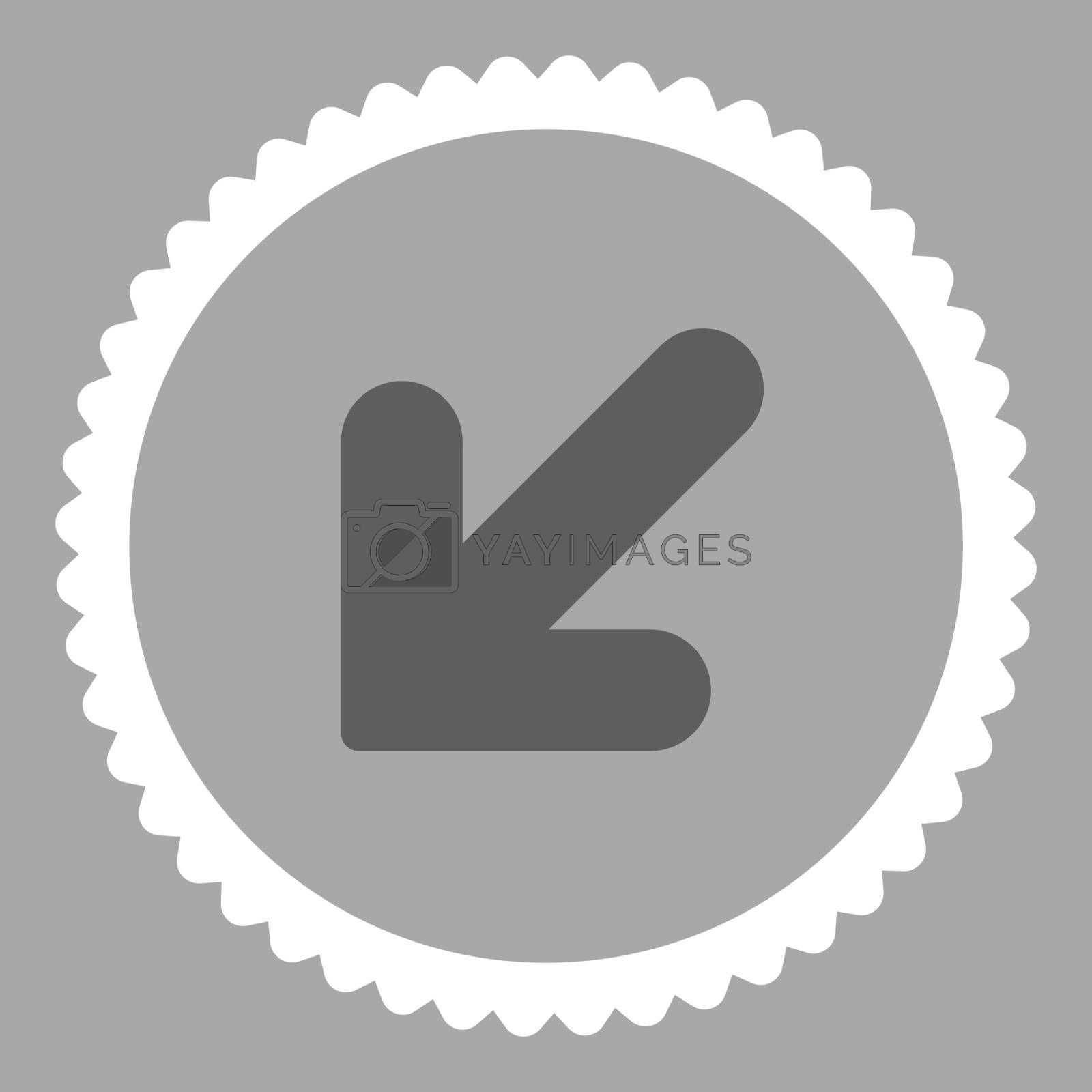 Arrow Down Left flat dark gray and white colors round stamp icon by Aha-Soft