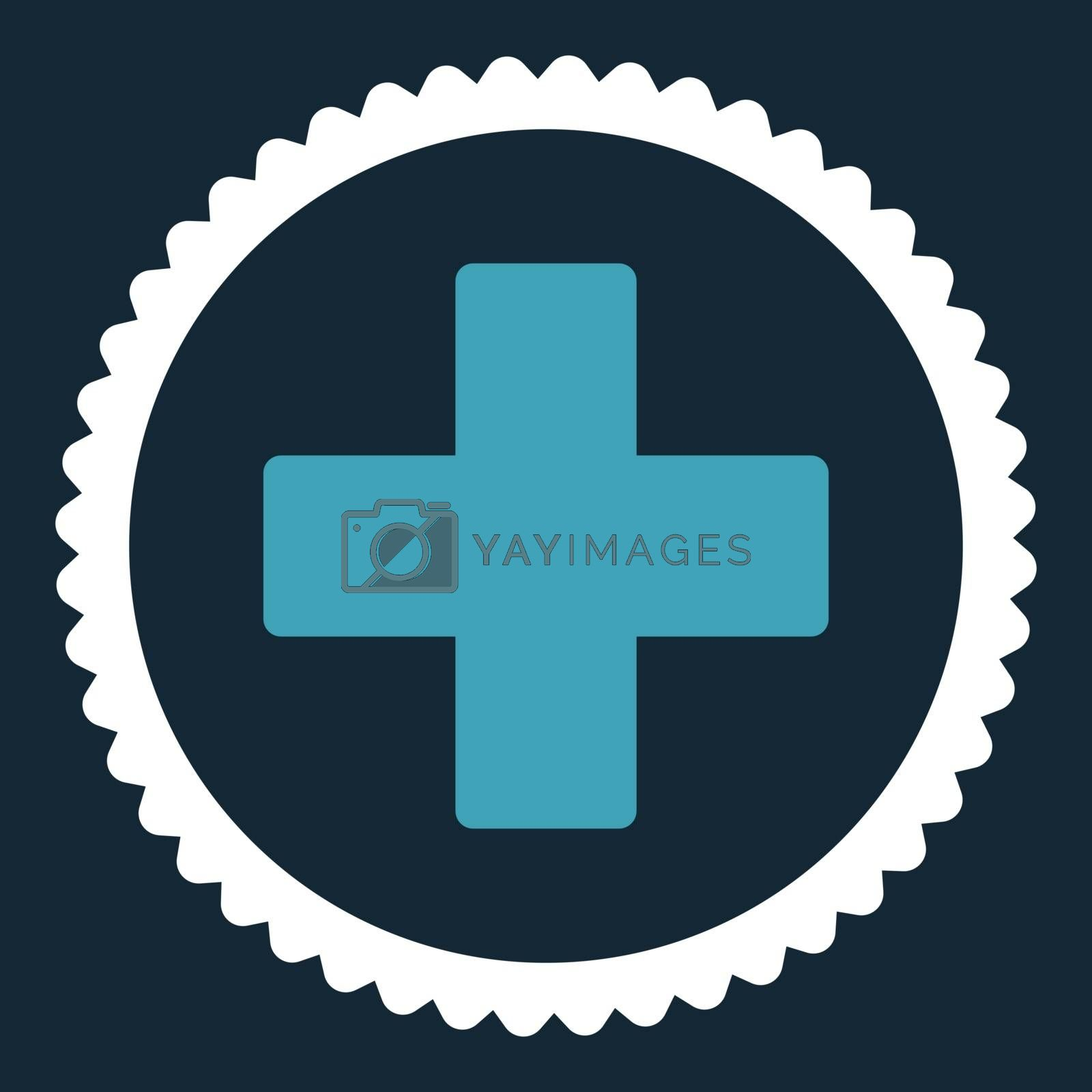 Plus flat blue and white colors round stamp icon by Aha-Soft