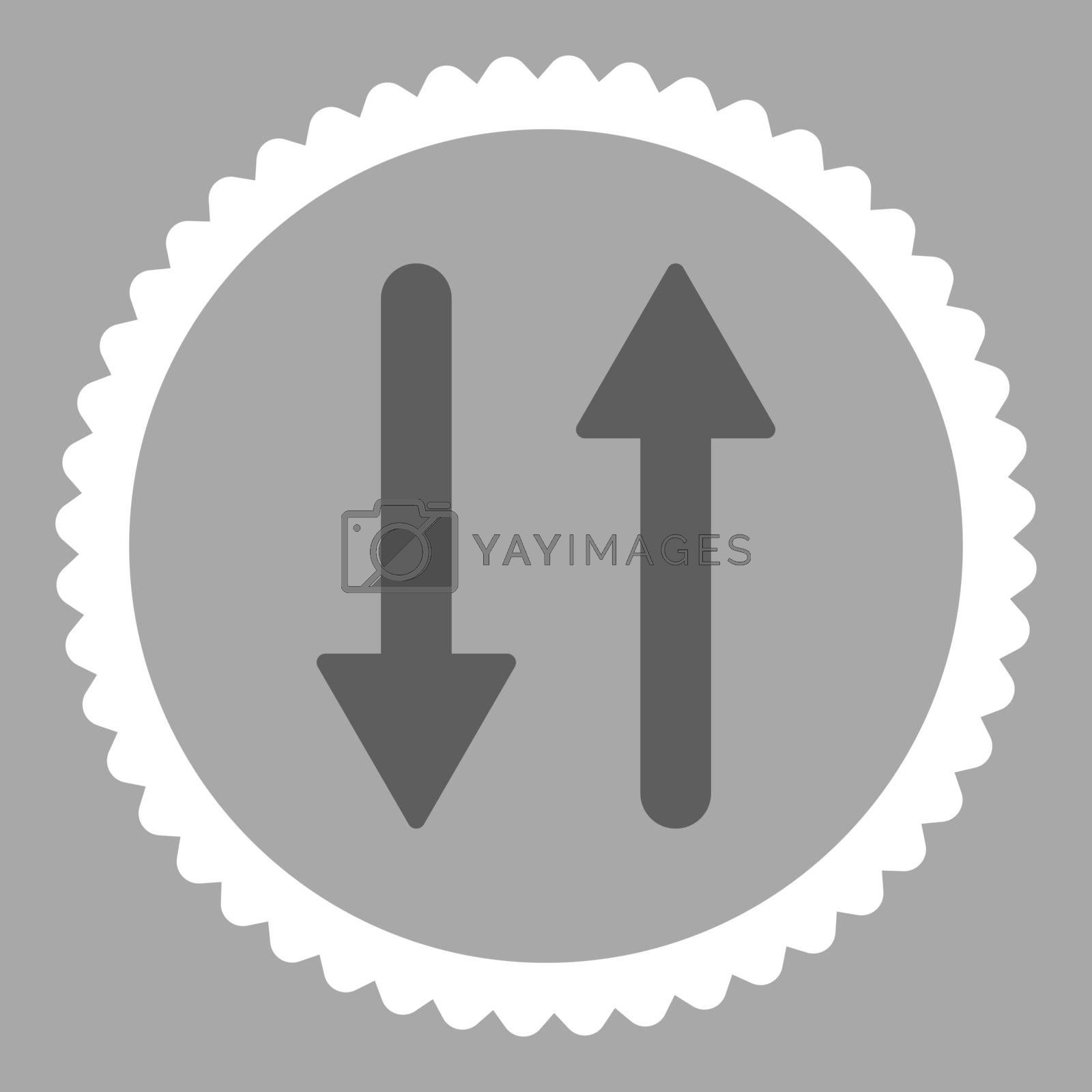 Arrows Exchange Vertical flat dark gray and white colors round stamp icon by Aha-Soft