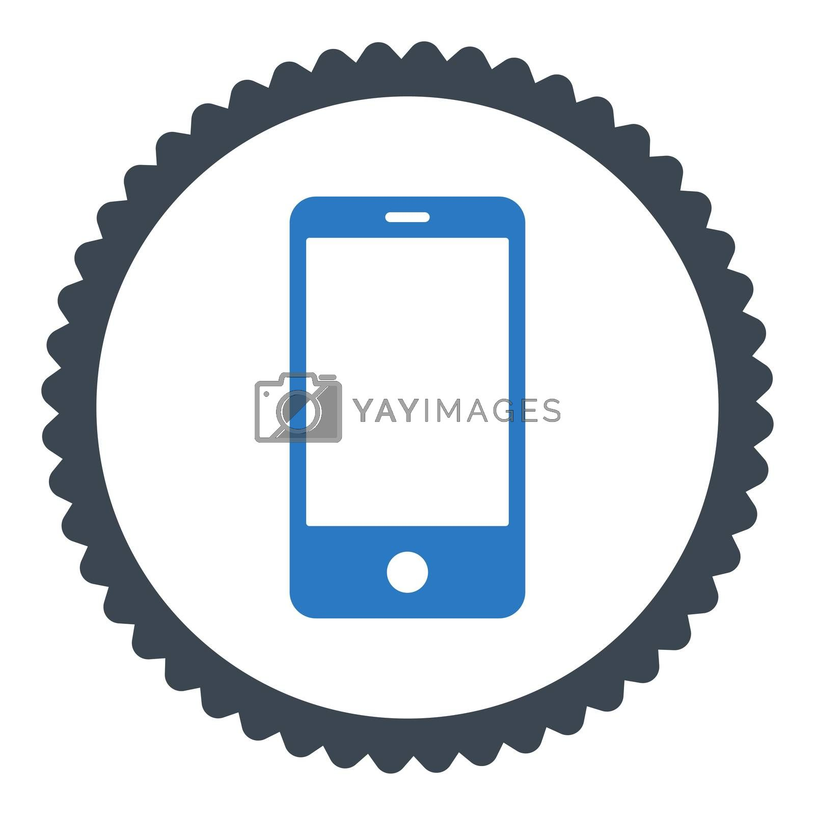 Smartphone flat smooth blue colors round stamp icon by Aha-Soft