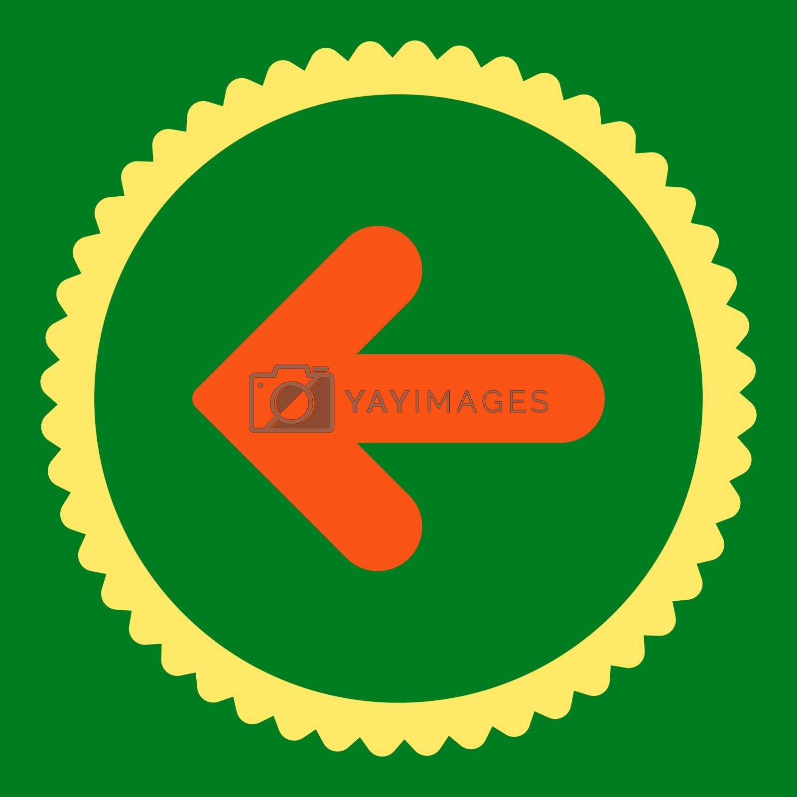 Arrow Left flat orange and yellow colors round stamp icon by Aha-Soft