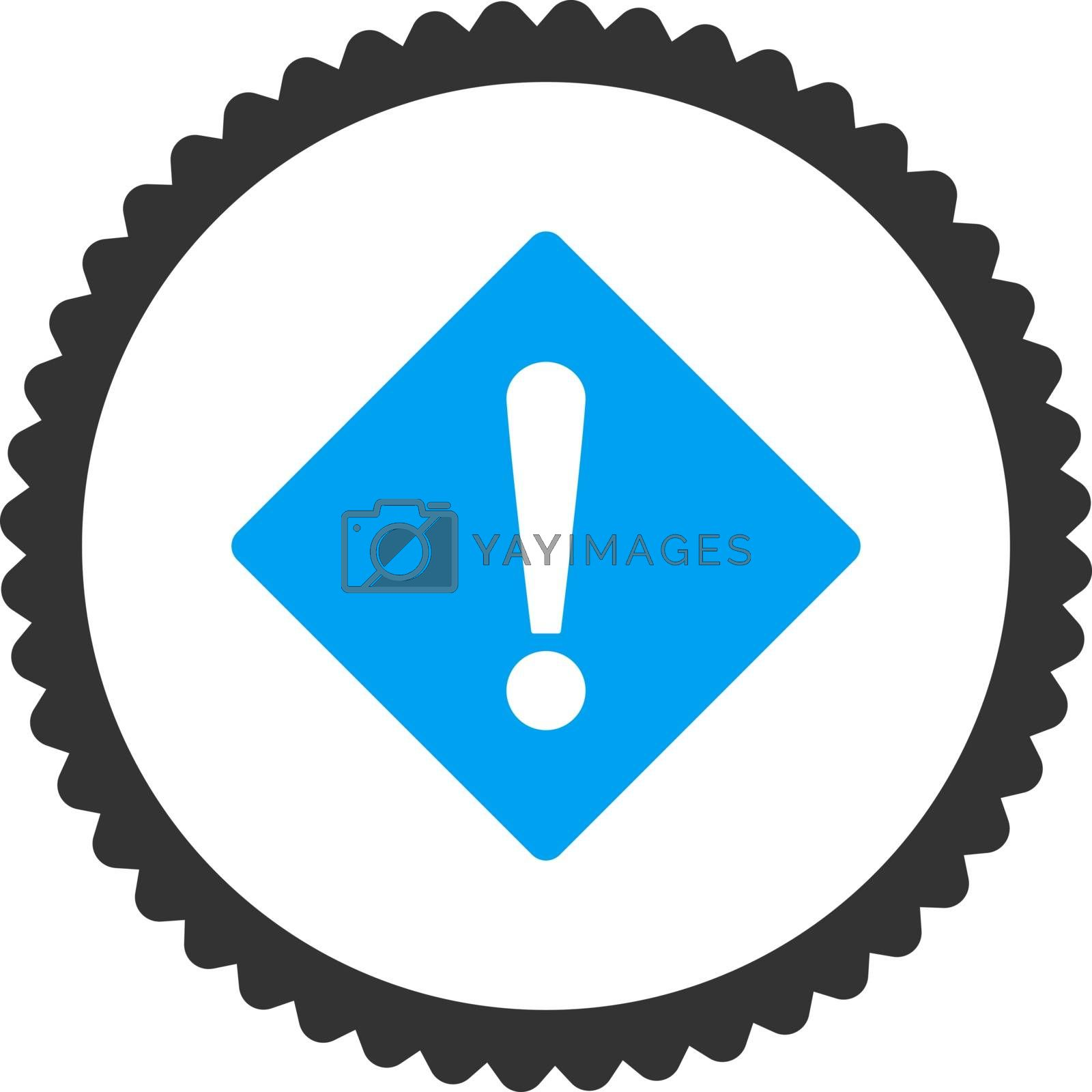 Error flat blue and gray colors round stamp icon by Aha-Soft