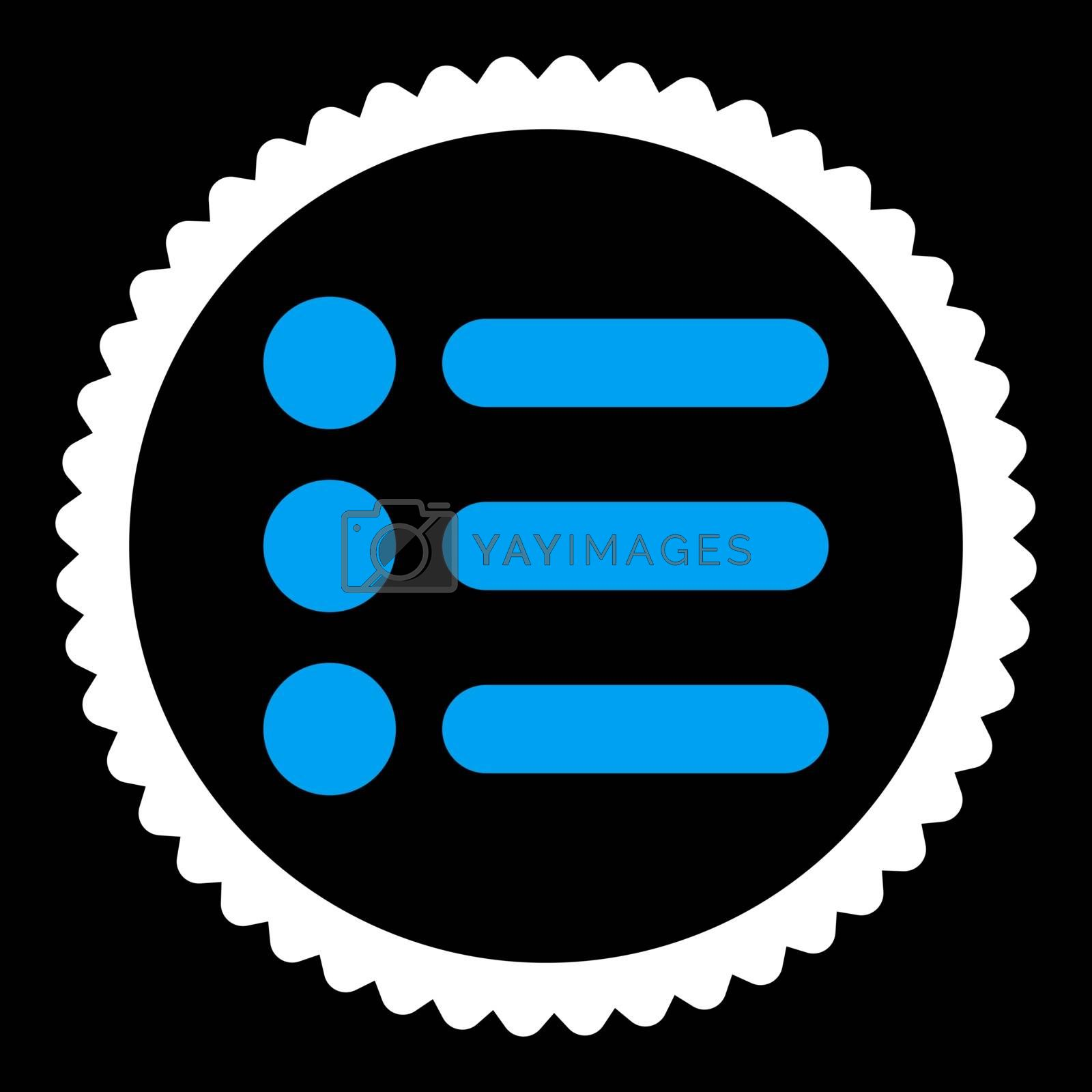 Items flat blue and white colors round stamp icon by Aha-Soft