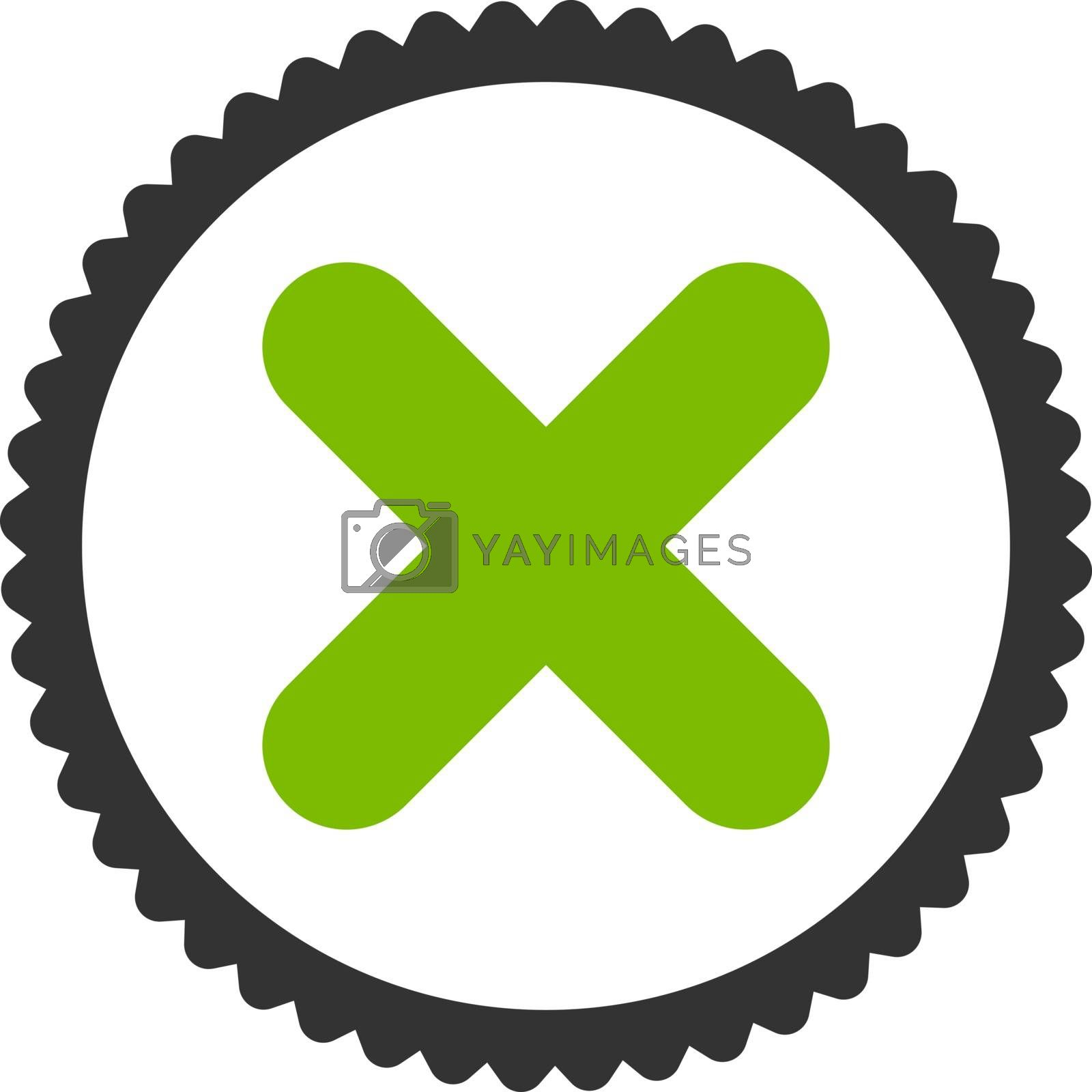 Cancel flat eco green and gray colors round stamp icon by Aha-Soft