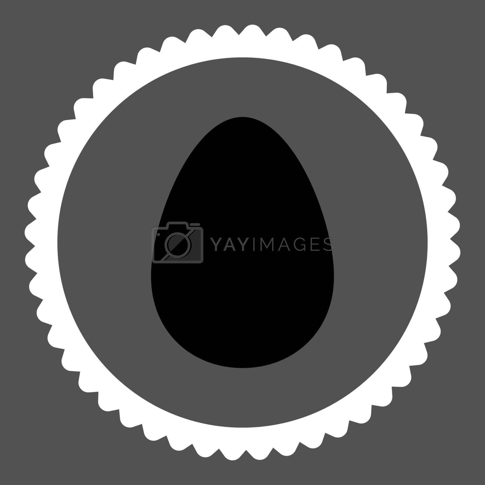 Egg flat black and white colors round stamp icon by Aha-Soft