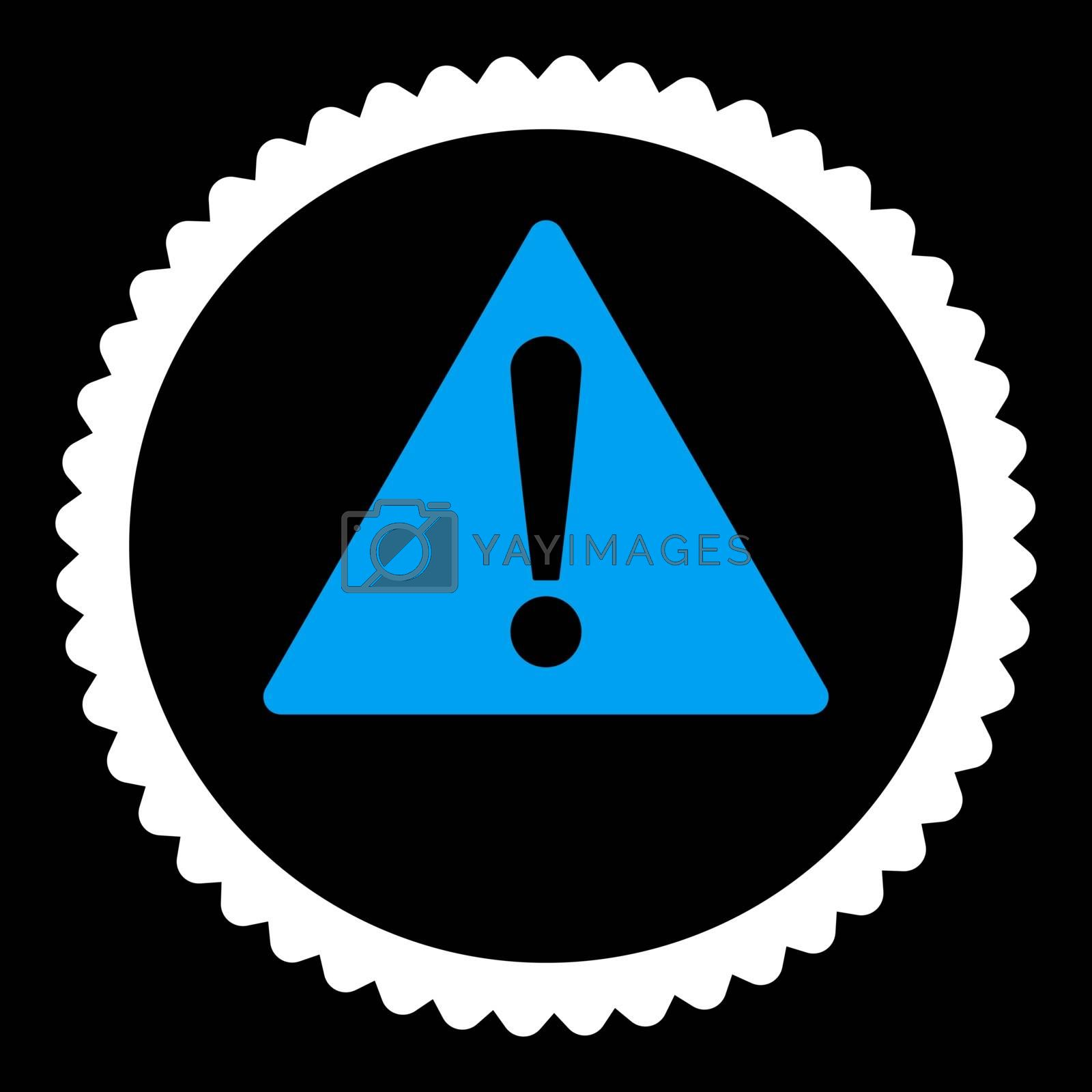 Warning flat blue and white colors round stamp icon by Aha-Soft