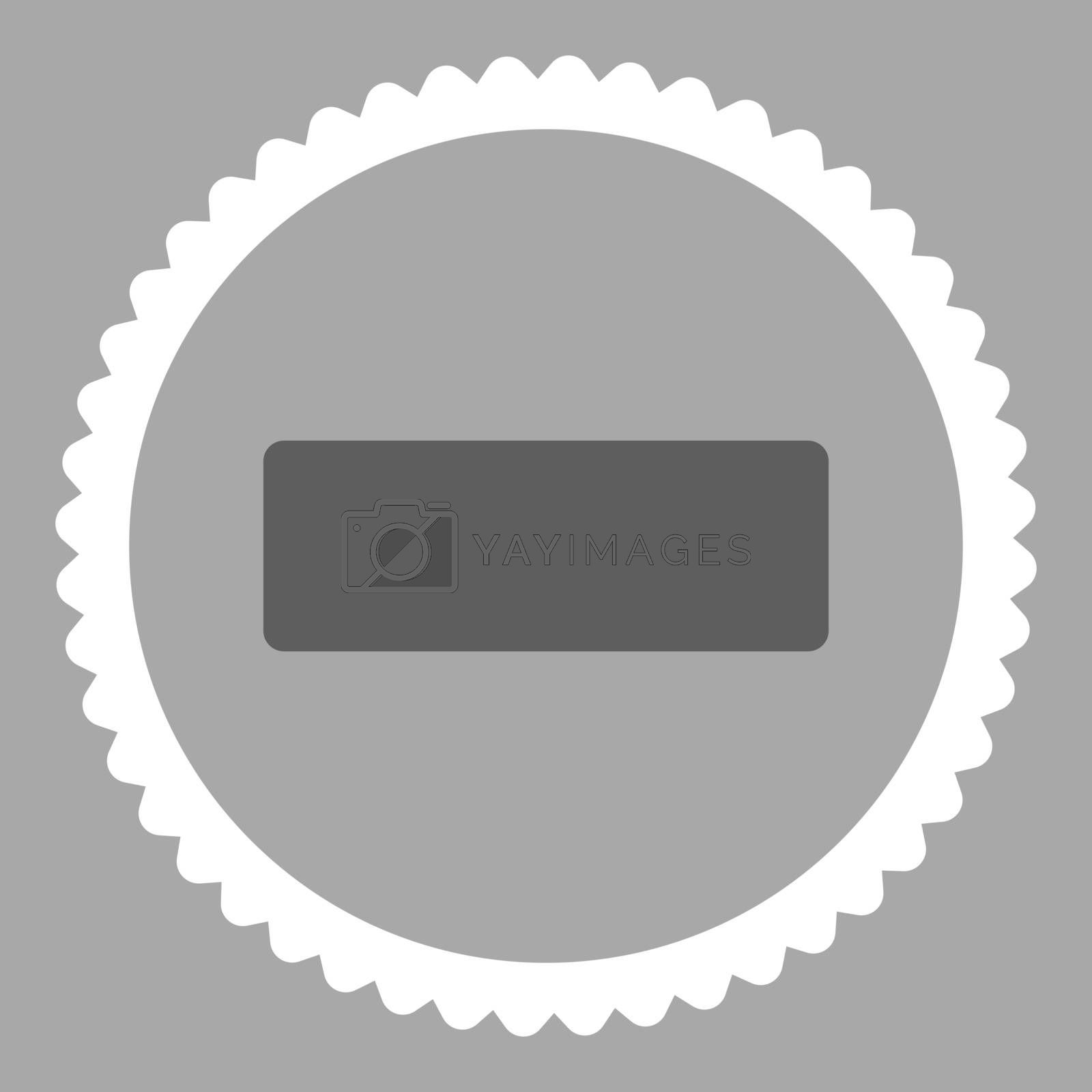 Minus flat dark gray and white colors round stamp icon by Aha-Soft