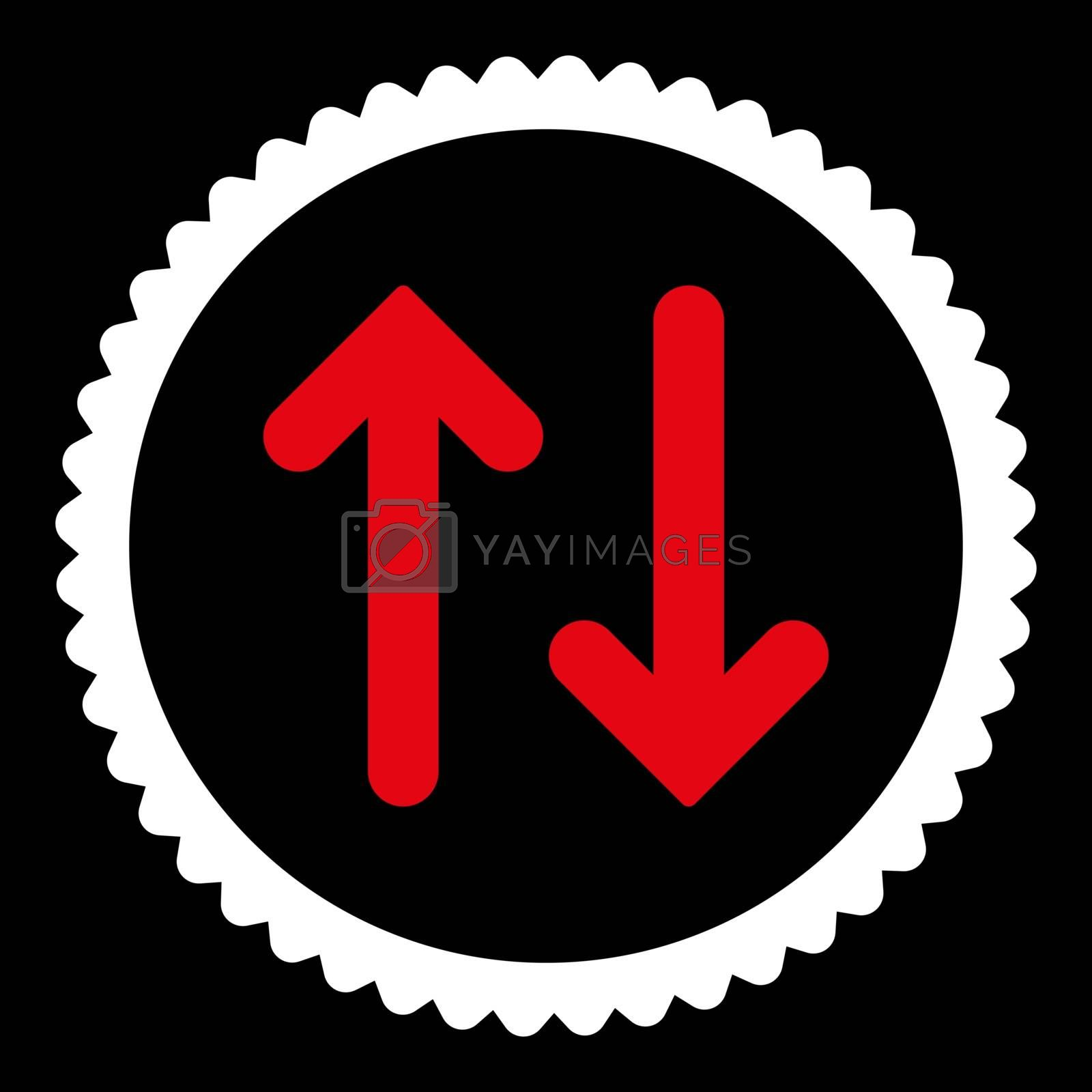 Flip flat red and white colors round stamp icon by Aha-Soft