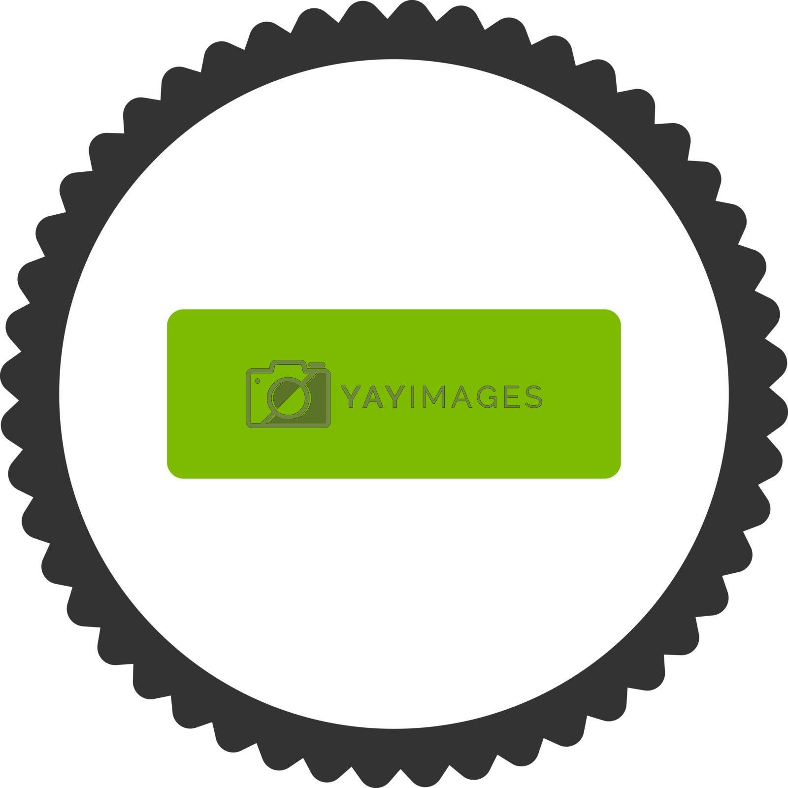 Minus flat eco green and gray colors round stamp icon by Aha-Soft
