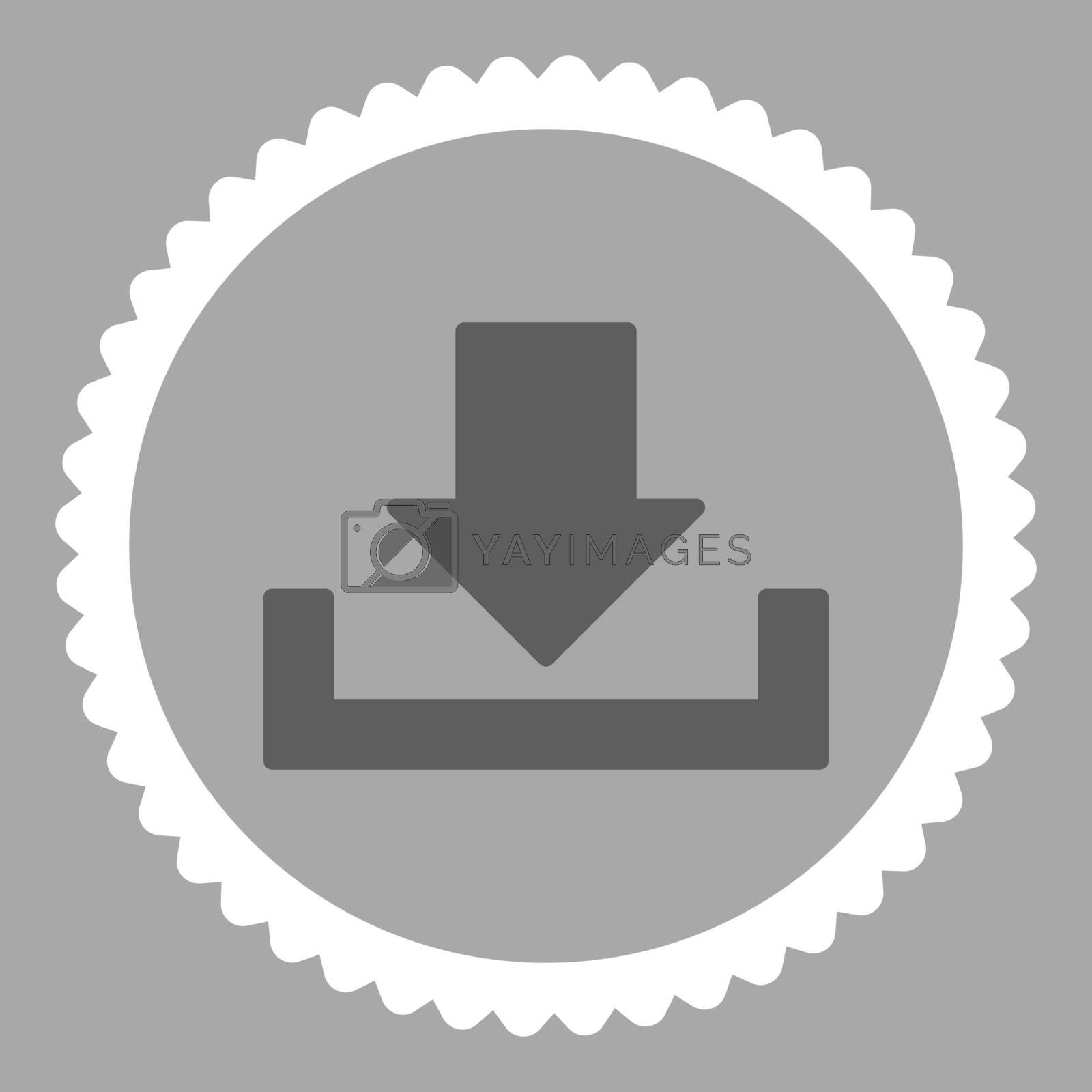 Download flat dark gray and white colors round stamp icon by Aha-Soft