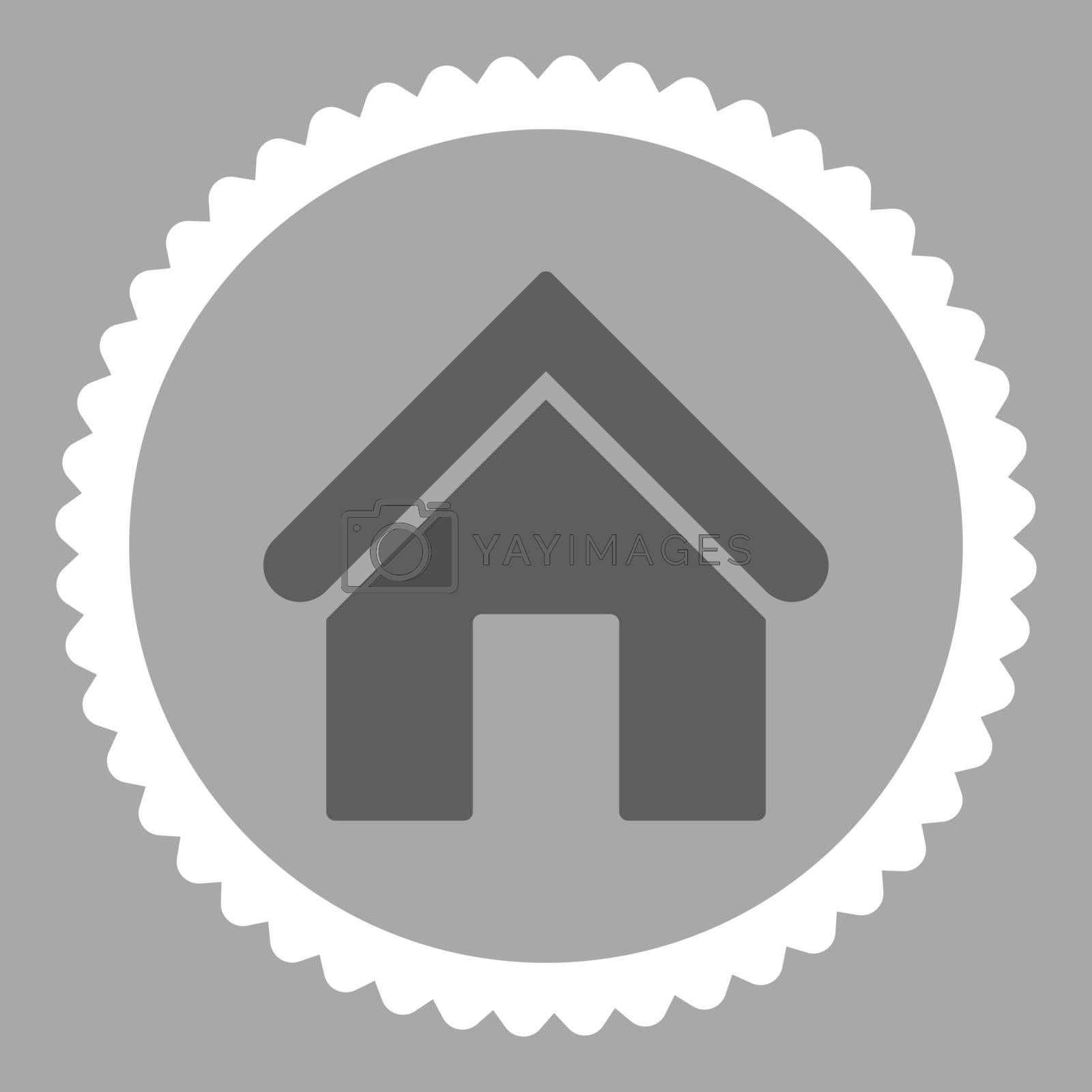 Home flat dark gray and white colors round stamp icon by Aha-Soft