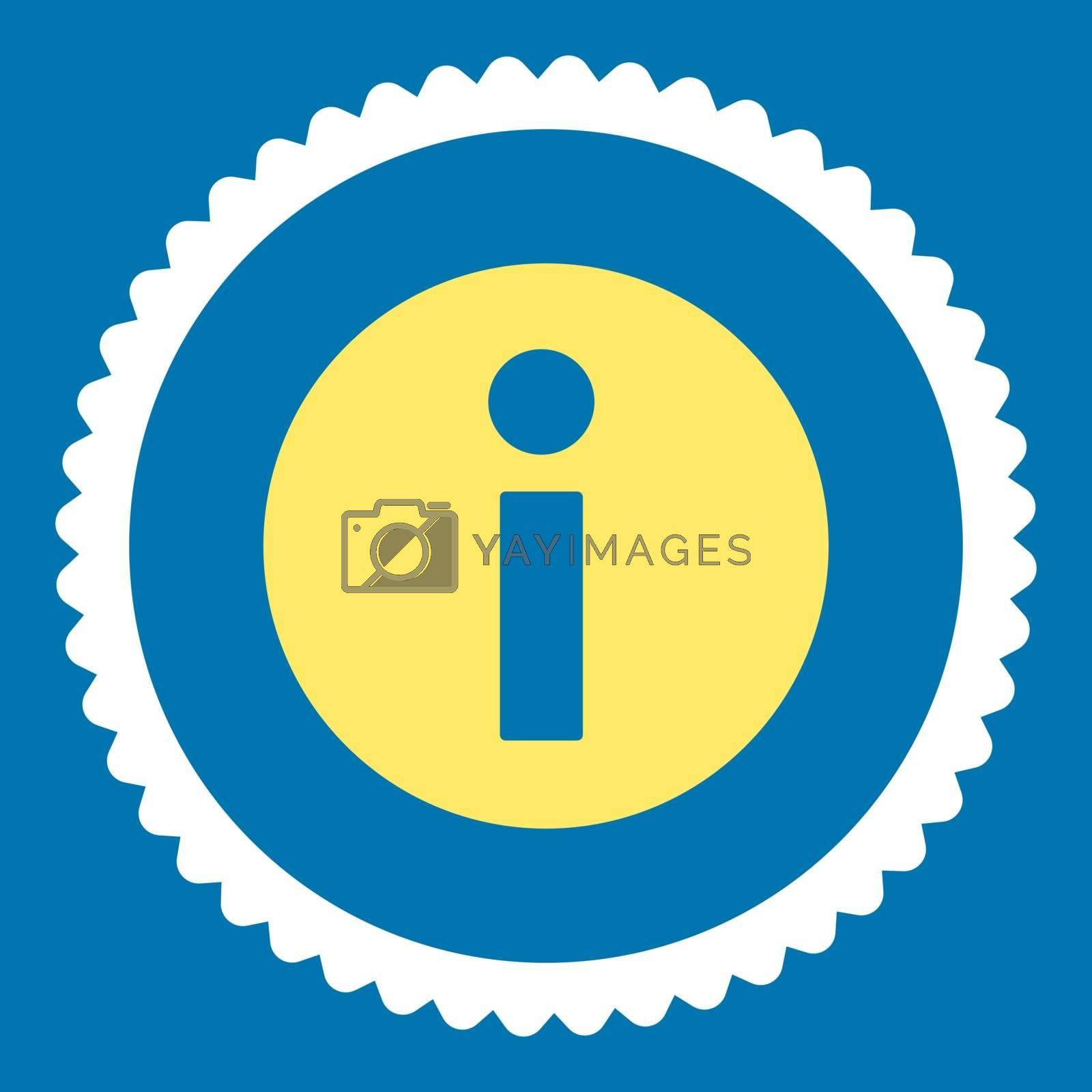 Information flat yellow and white colors round stamp icon by Aha-Soft