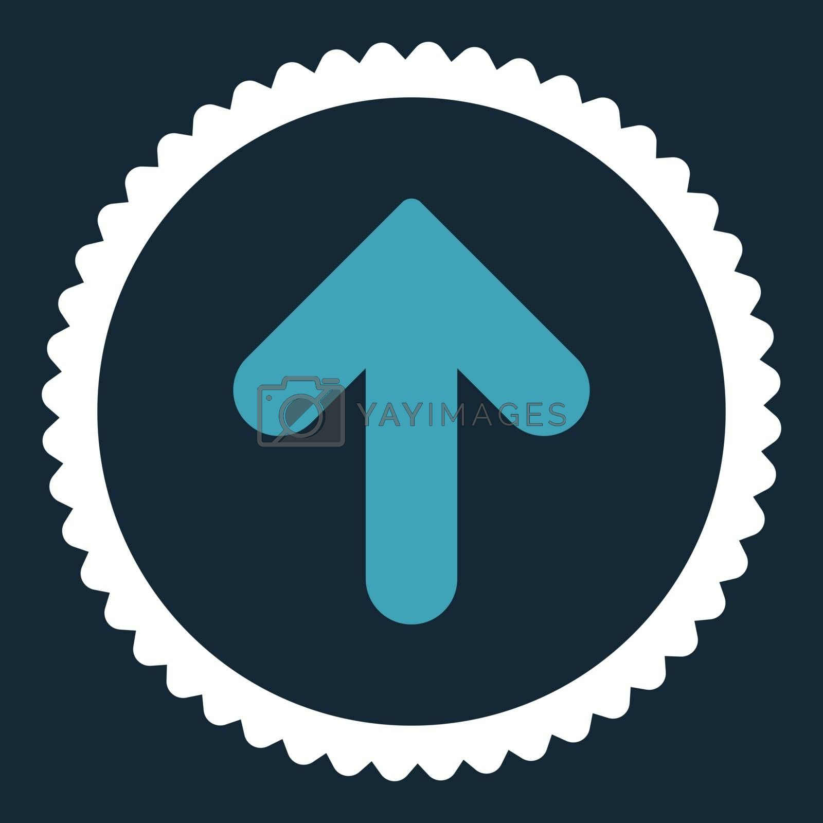 Arrow Up flat blue and white colors round stamp icon by Aha-Soft