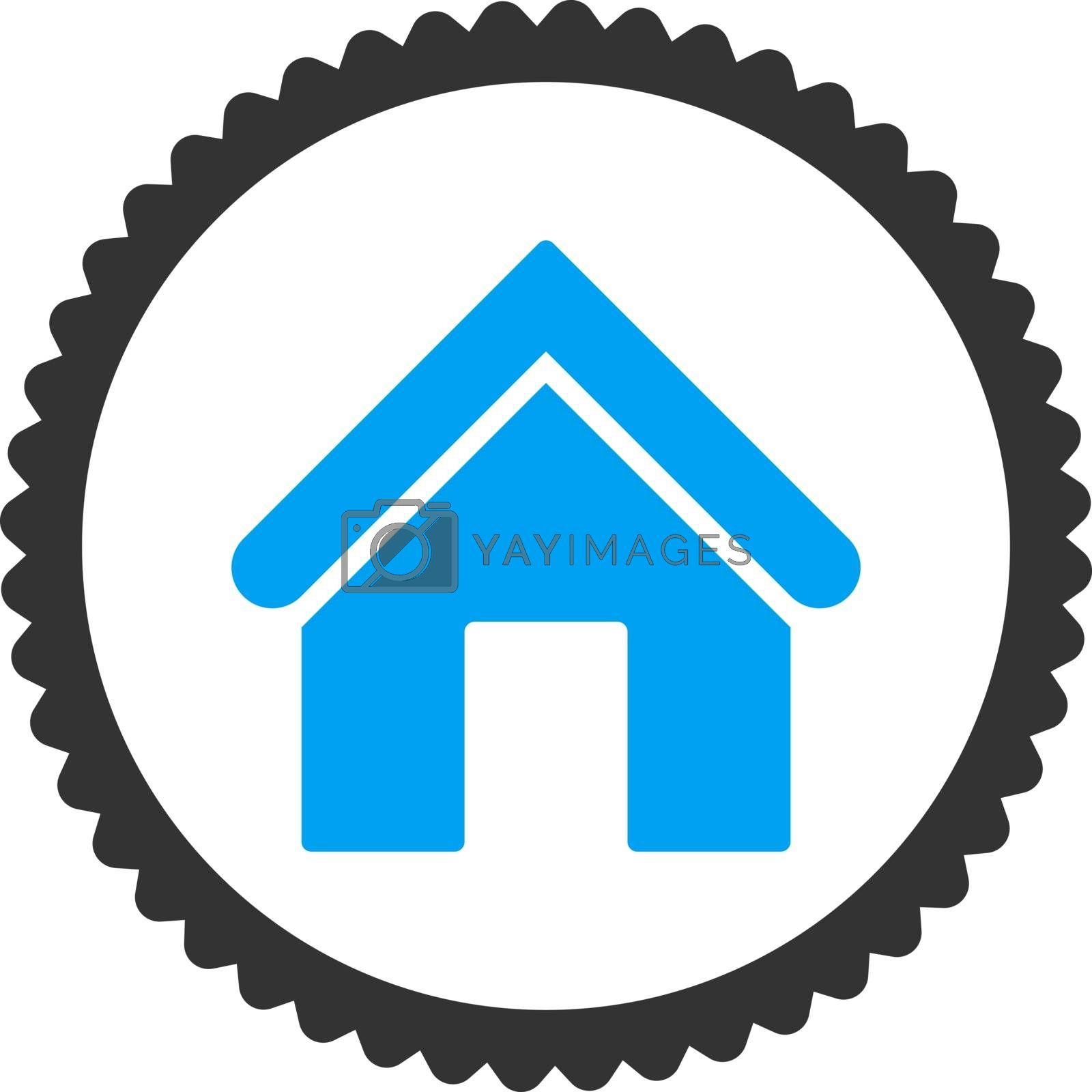 Home flat blue and gray colors round stamp icon by Aha-Soft