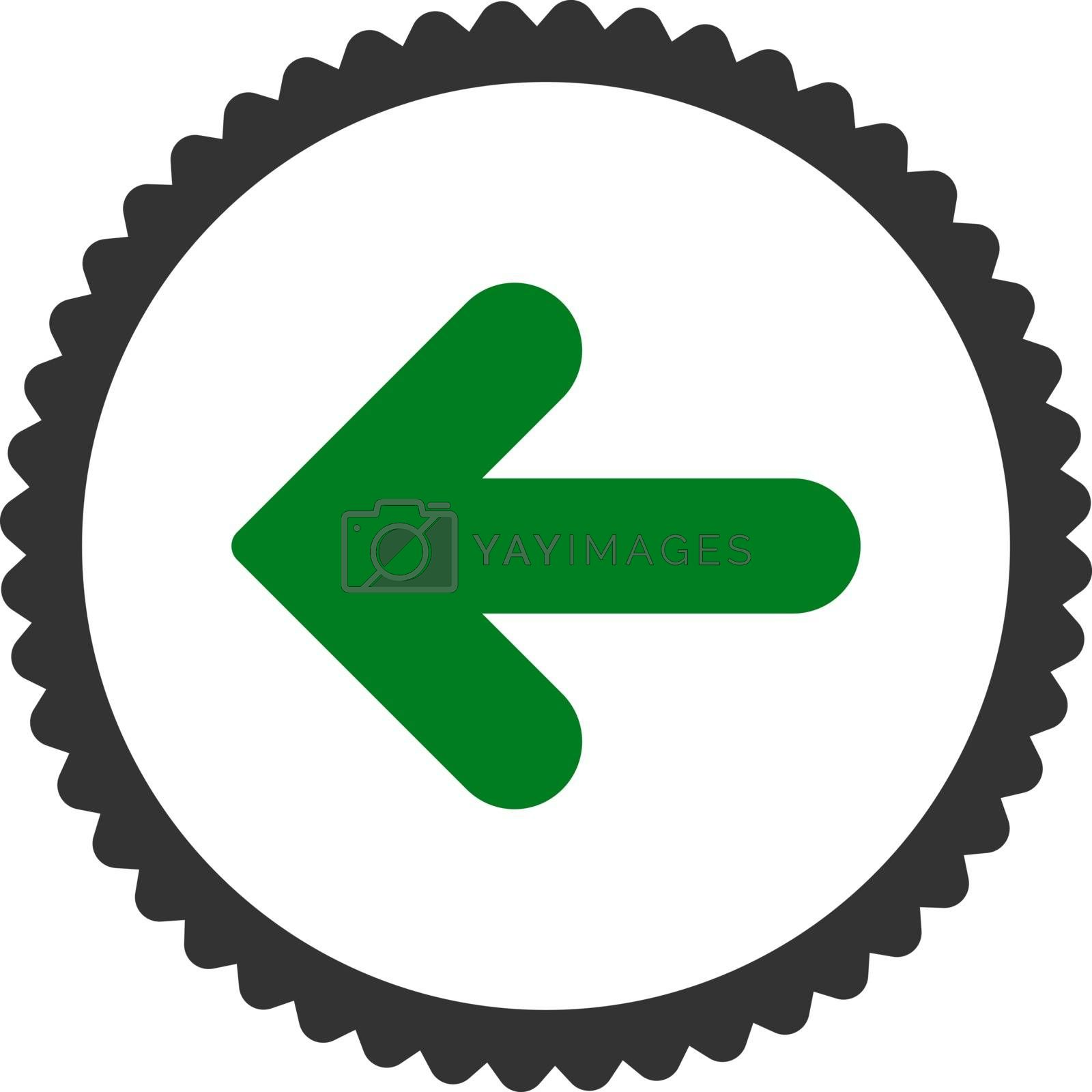 Arrow Left flat green and gray colors round stamp icon by Aha-Soft