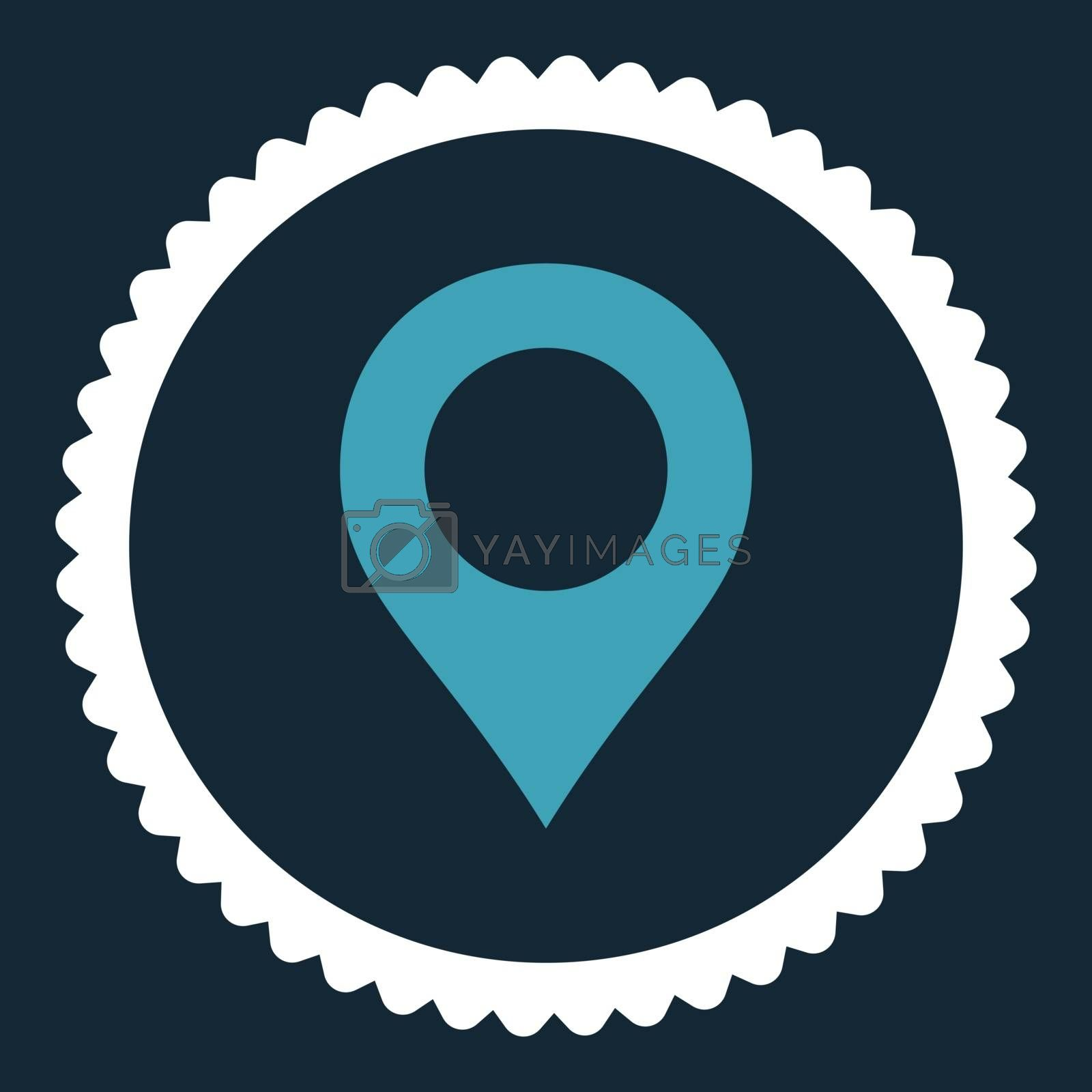 Map Marker flat blue and white colors round stamp icon by Aha-Soft