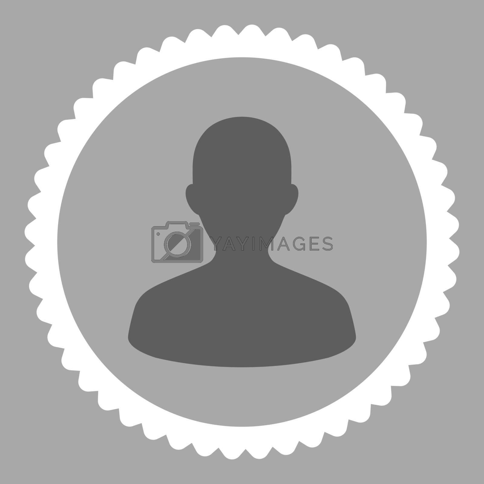 User flat dark gray and white colors round stamp icon by Aha-Soft