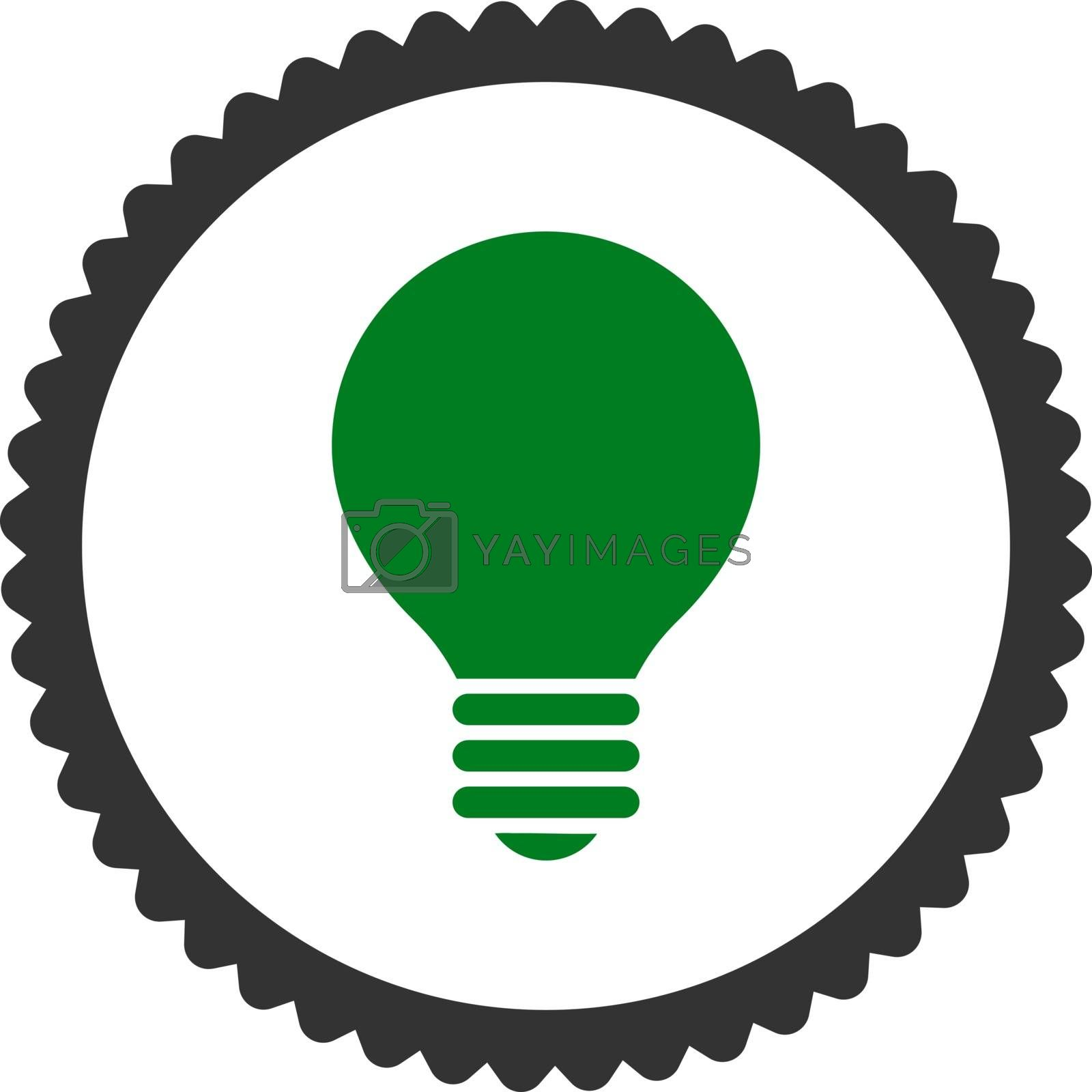 Electric Bulb flat green and gray colors round stamp icon by Aha-Soft