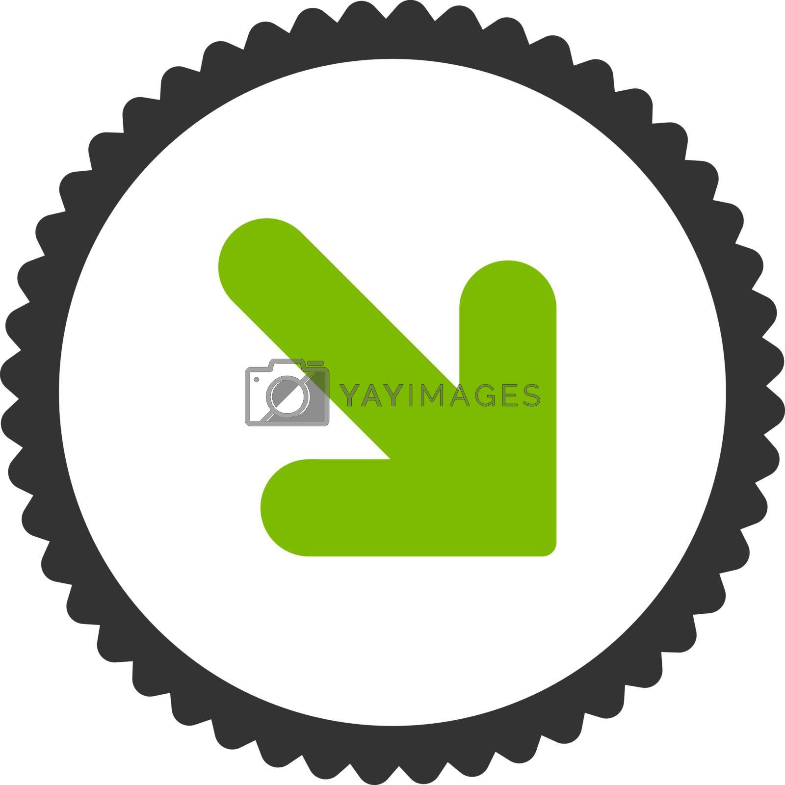 Arrow Down Right flat eco green and gray colors round stamp icon by Aha-Soft