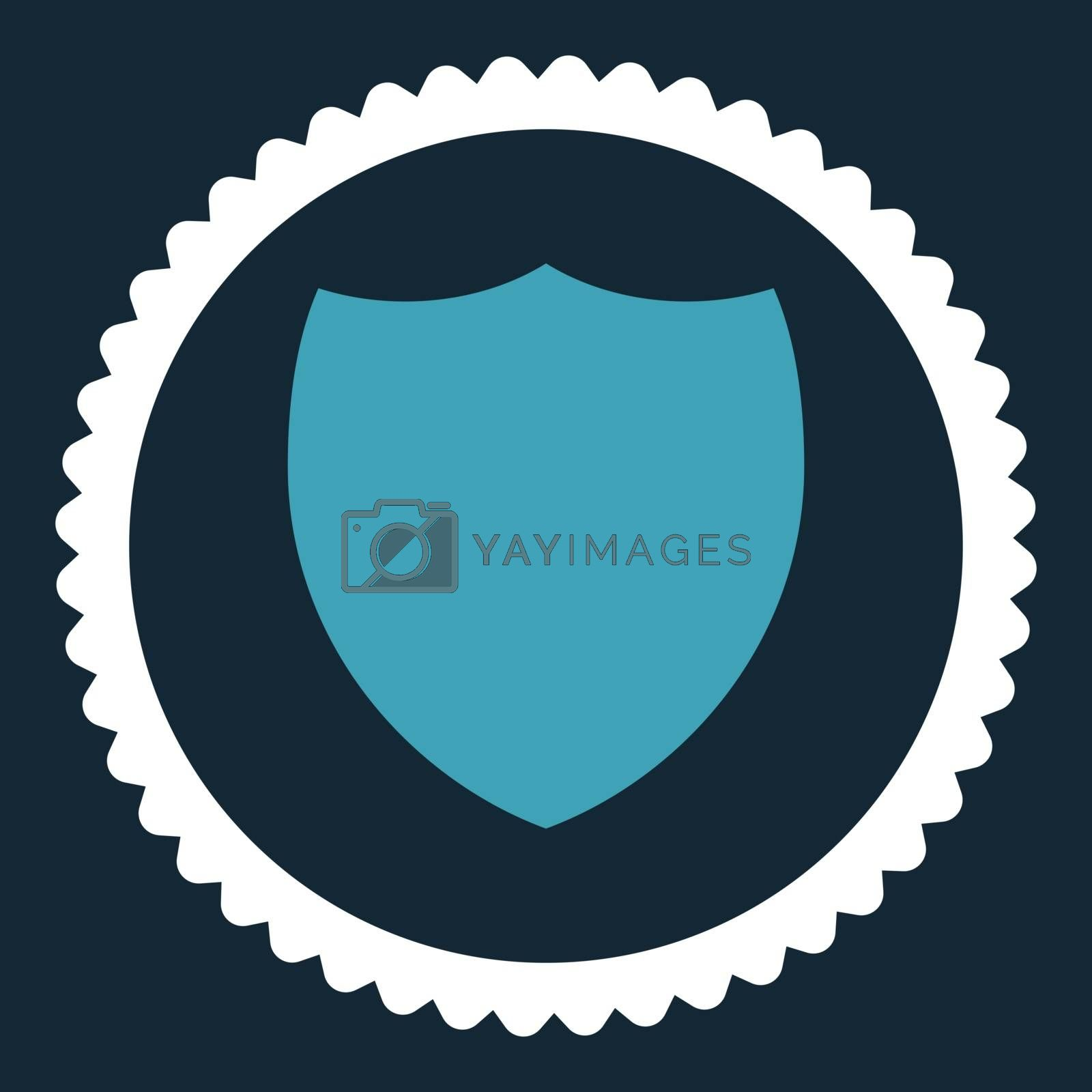 Shield flat blue and white colors round stamp icon by Aha-Soft