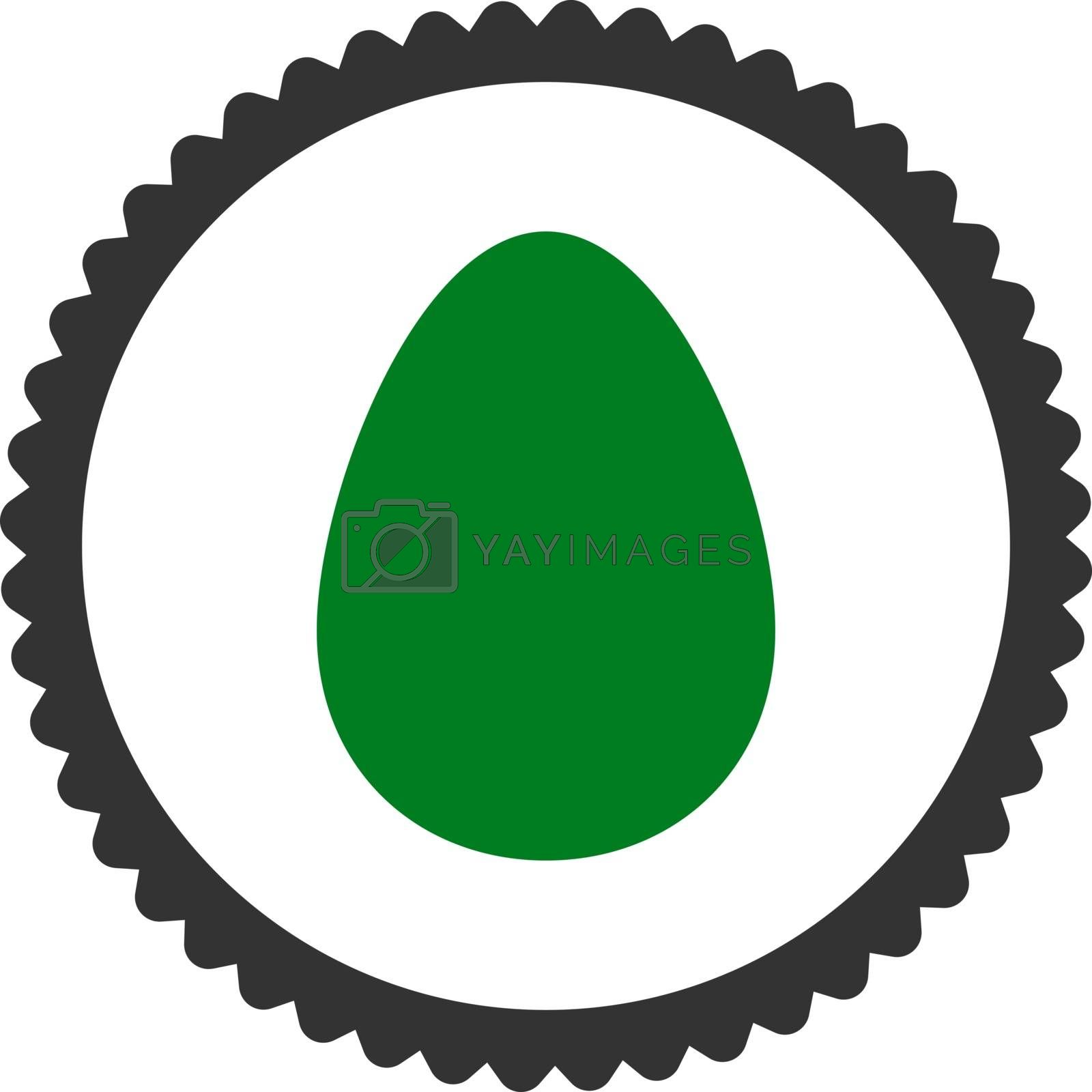 Egg flat green and gray colors round stamp icon by Aha-Soft