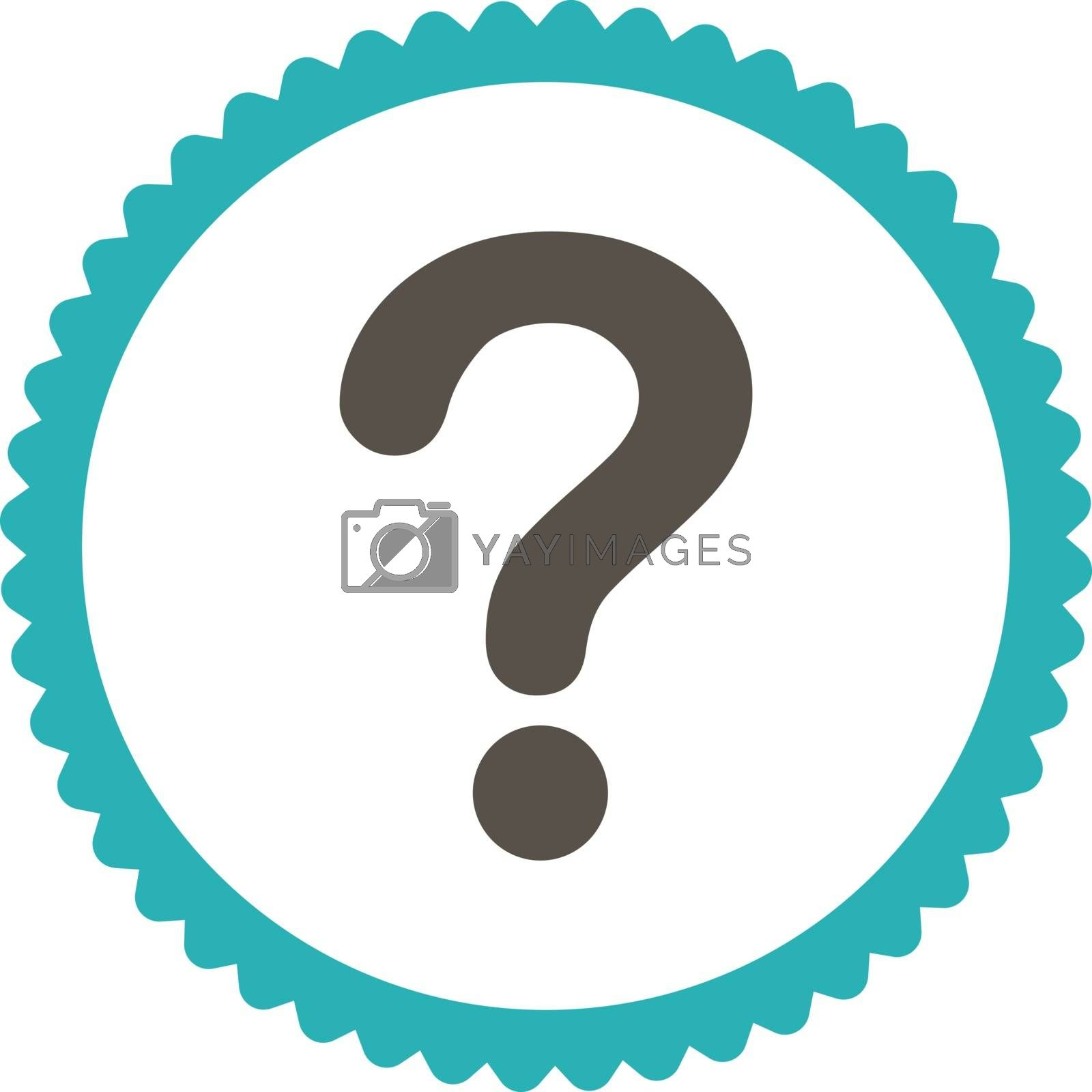 Question flat grey and cyan colors round stamp icon by Aha-Soft