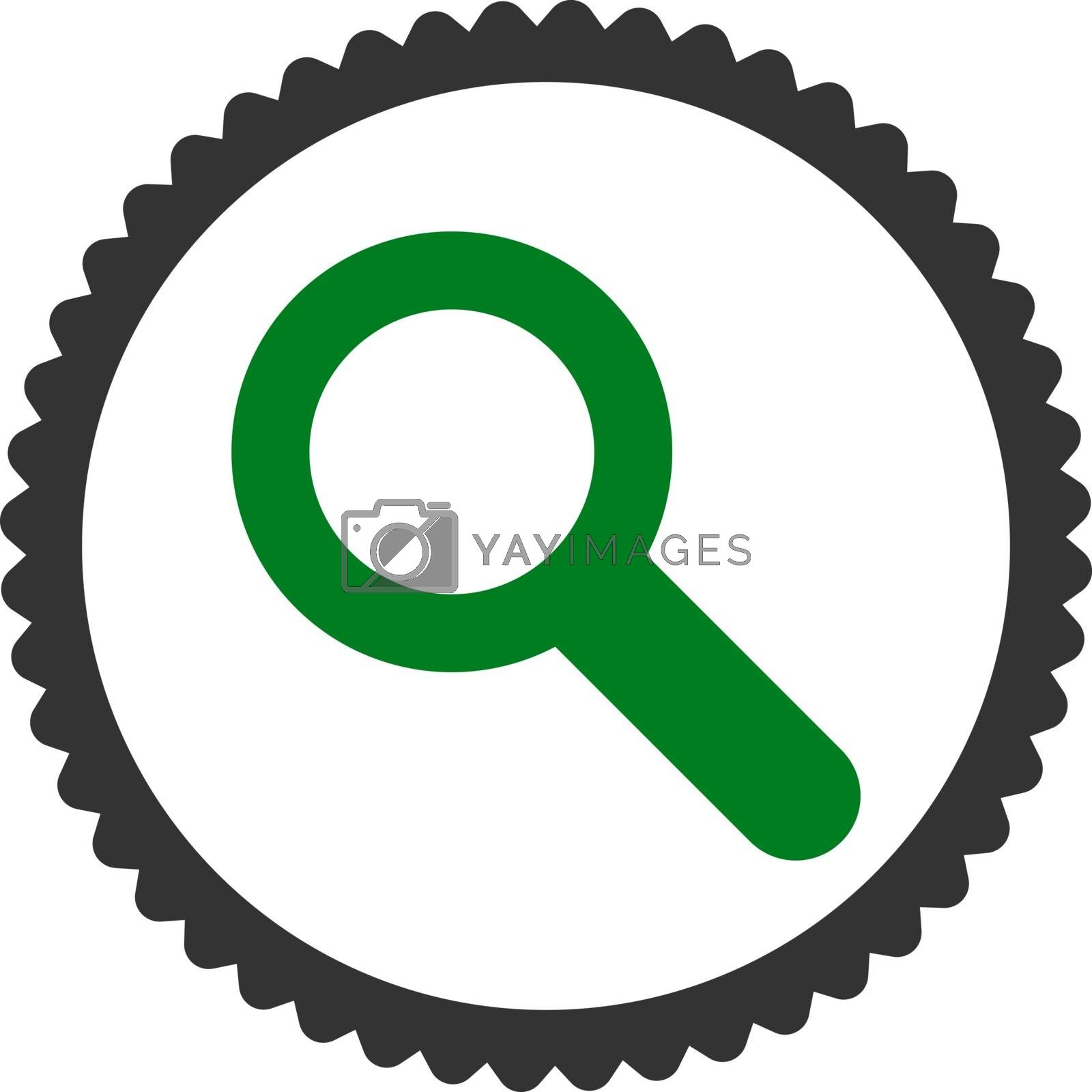 Search flat green and gray colors round stamp icon by Aha-Soft
