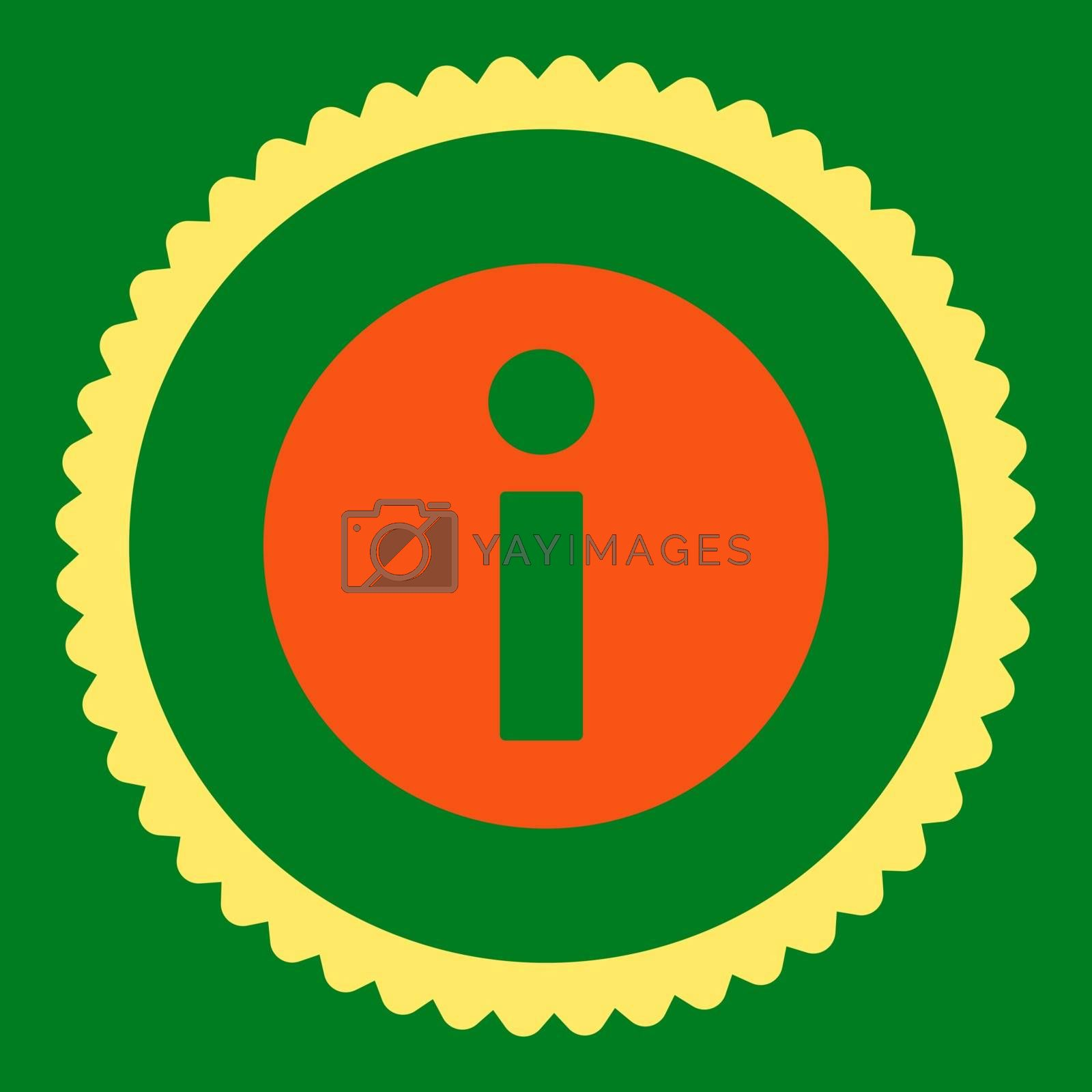 Information flat orange and yellow colors round stamp icon by Aha-Soft