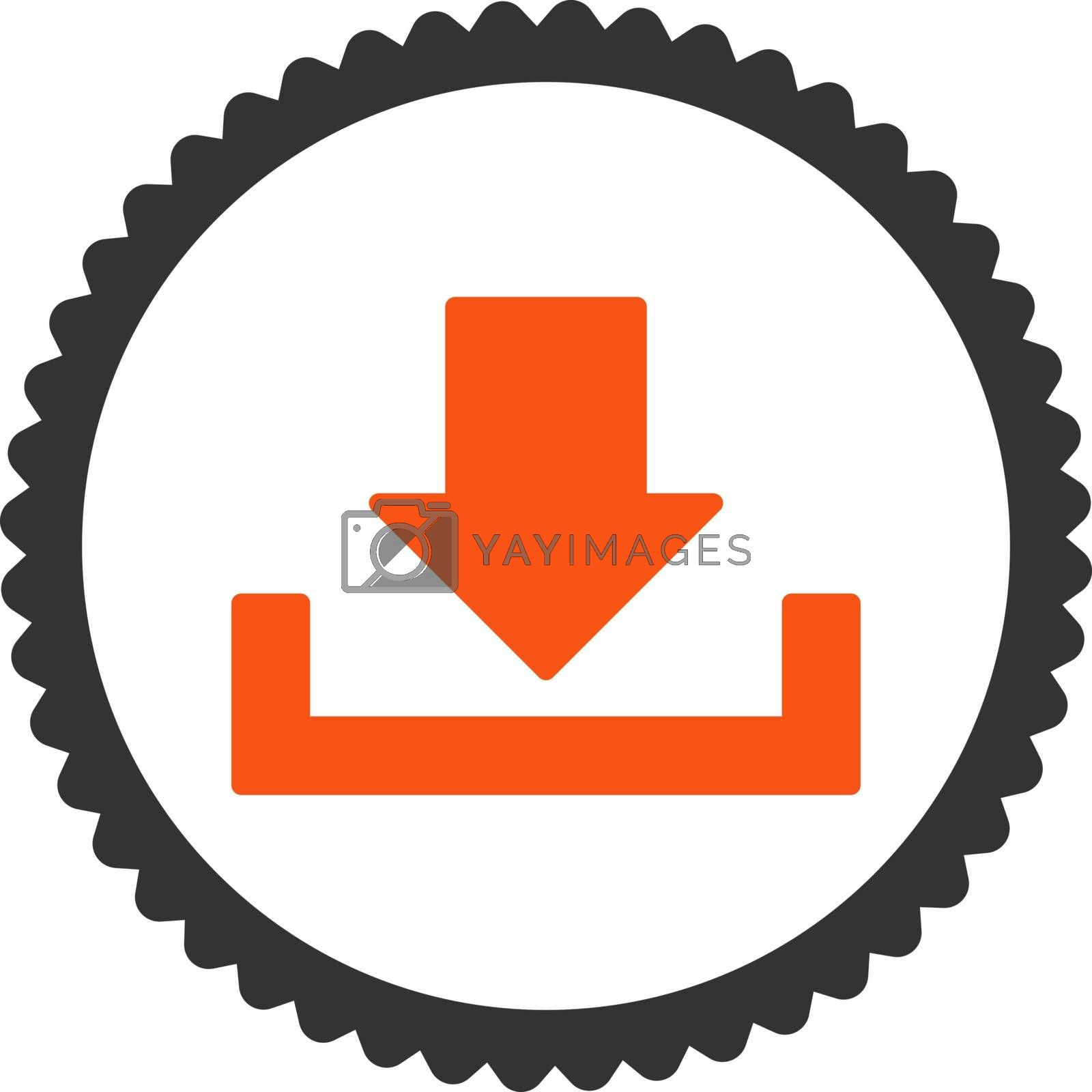 Download flat orange and gray colors round stamp icon by Aha-Soft
