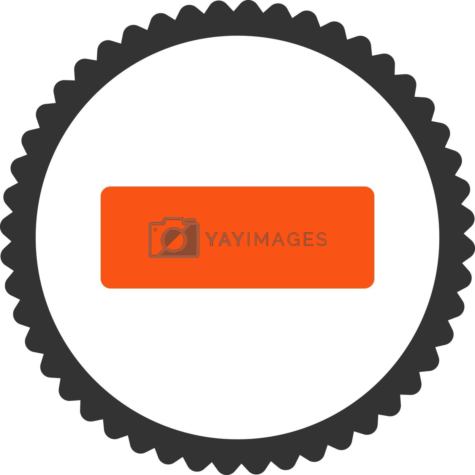 Minus flat orange and gray colors round stamp icon by Aha-Soft