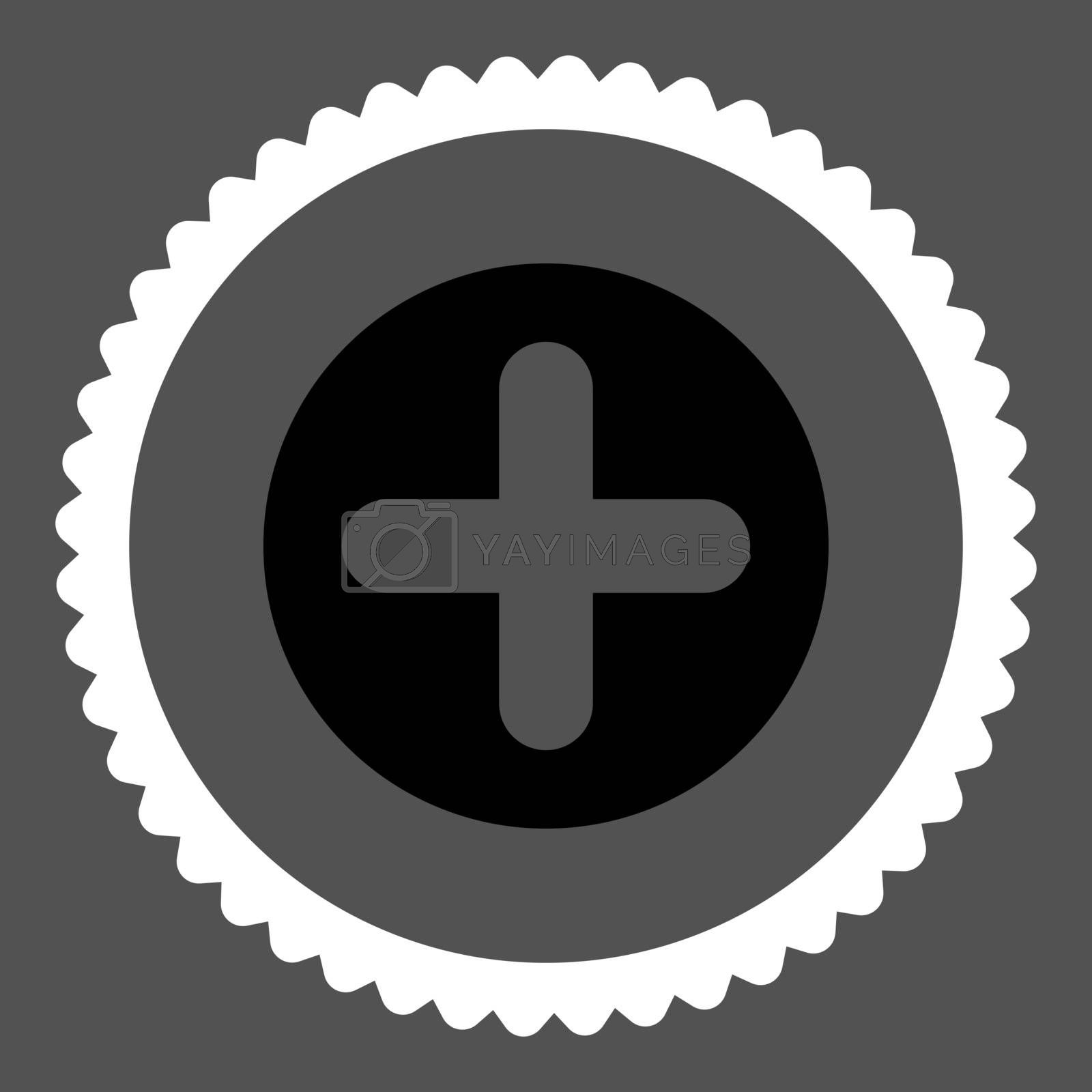 Create flat black and white colors round stamp icon by Aha-Soft