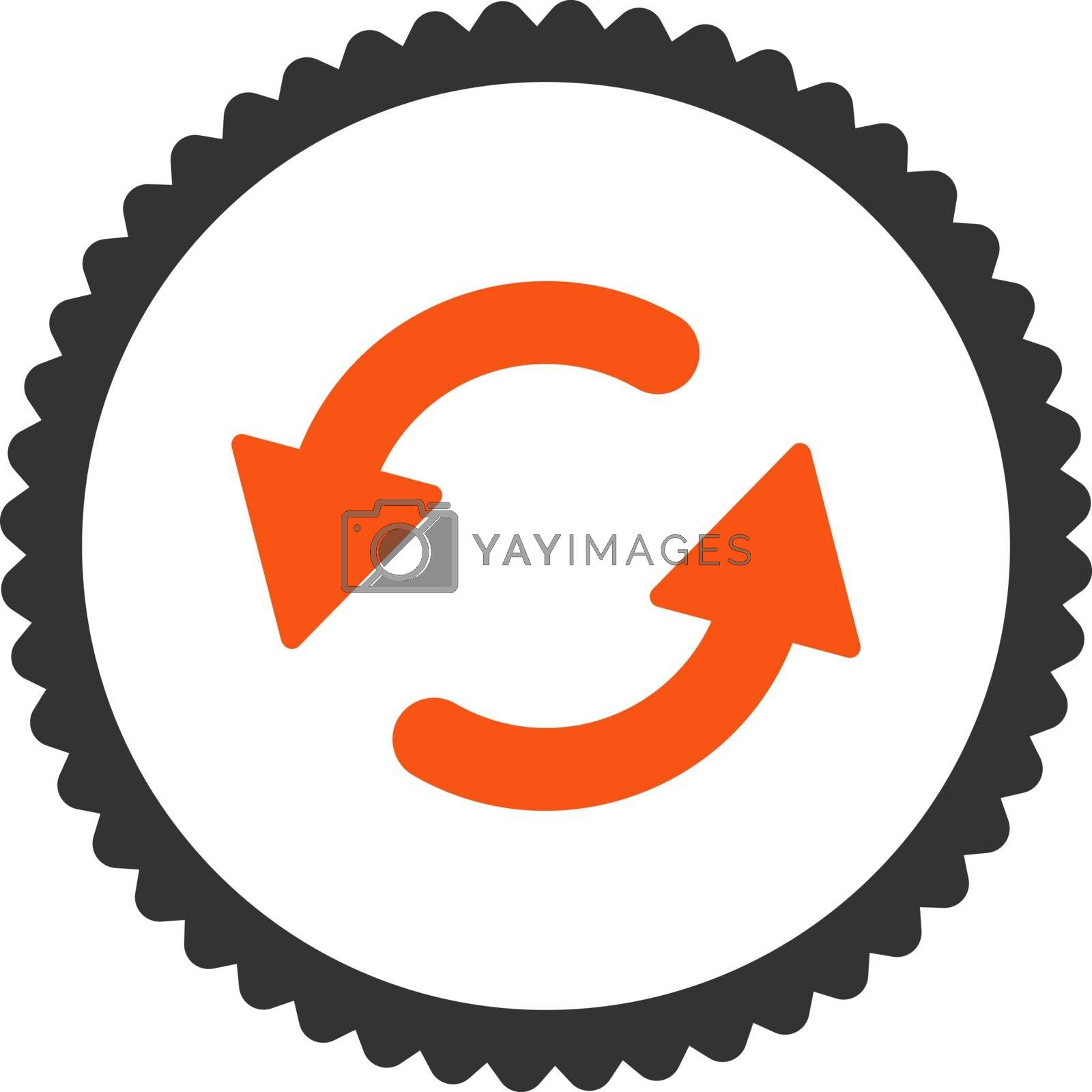 Refresh Ccw flat orange and gray colors round stamp icon by Aha-Soft