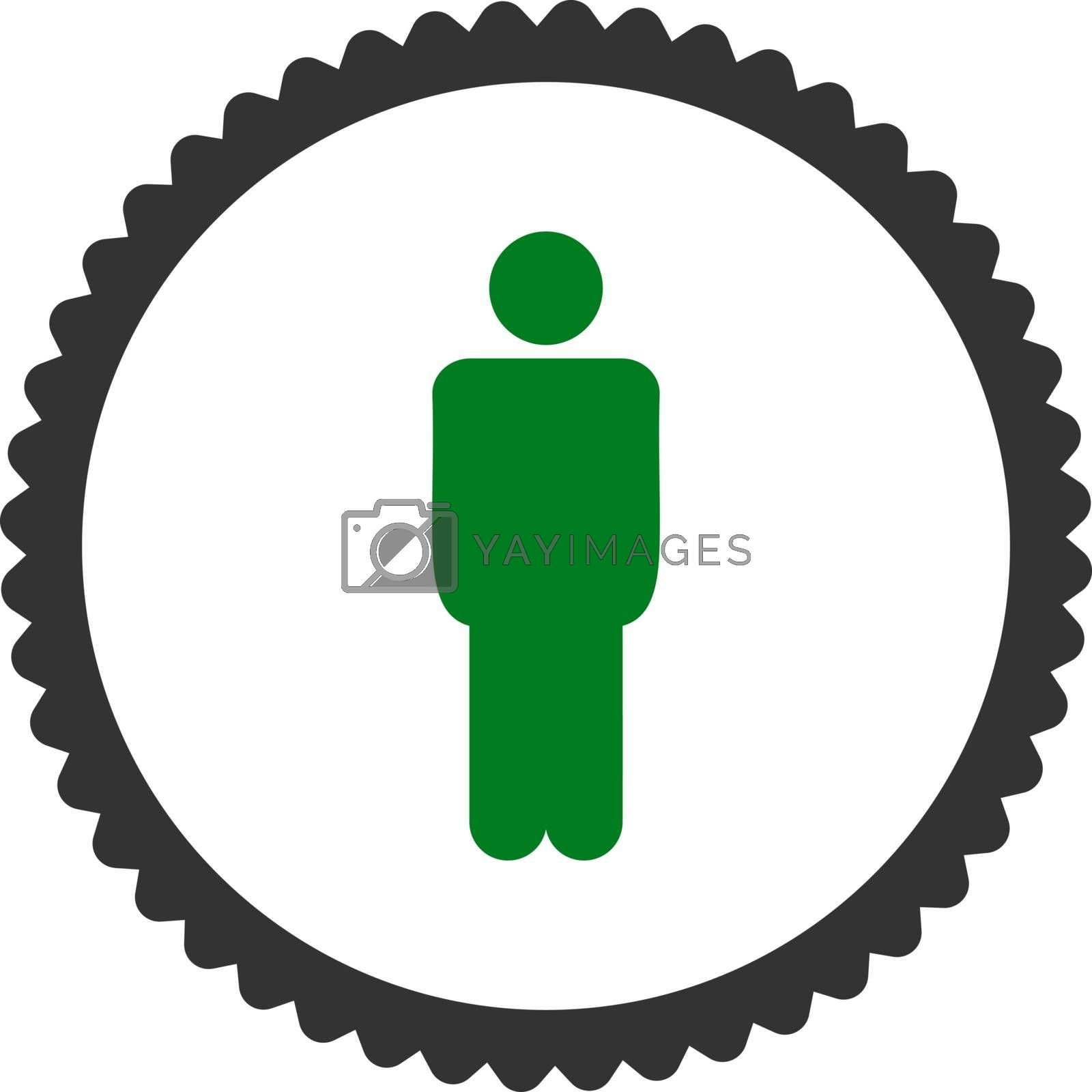 Man flat green and gray colors round stamp icon by Aha-Soft