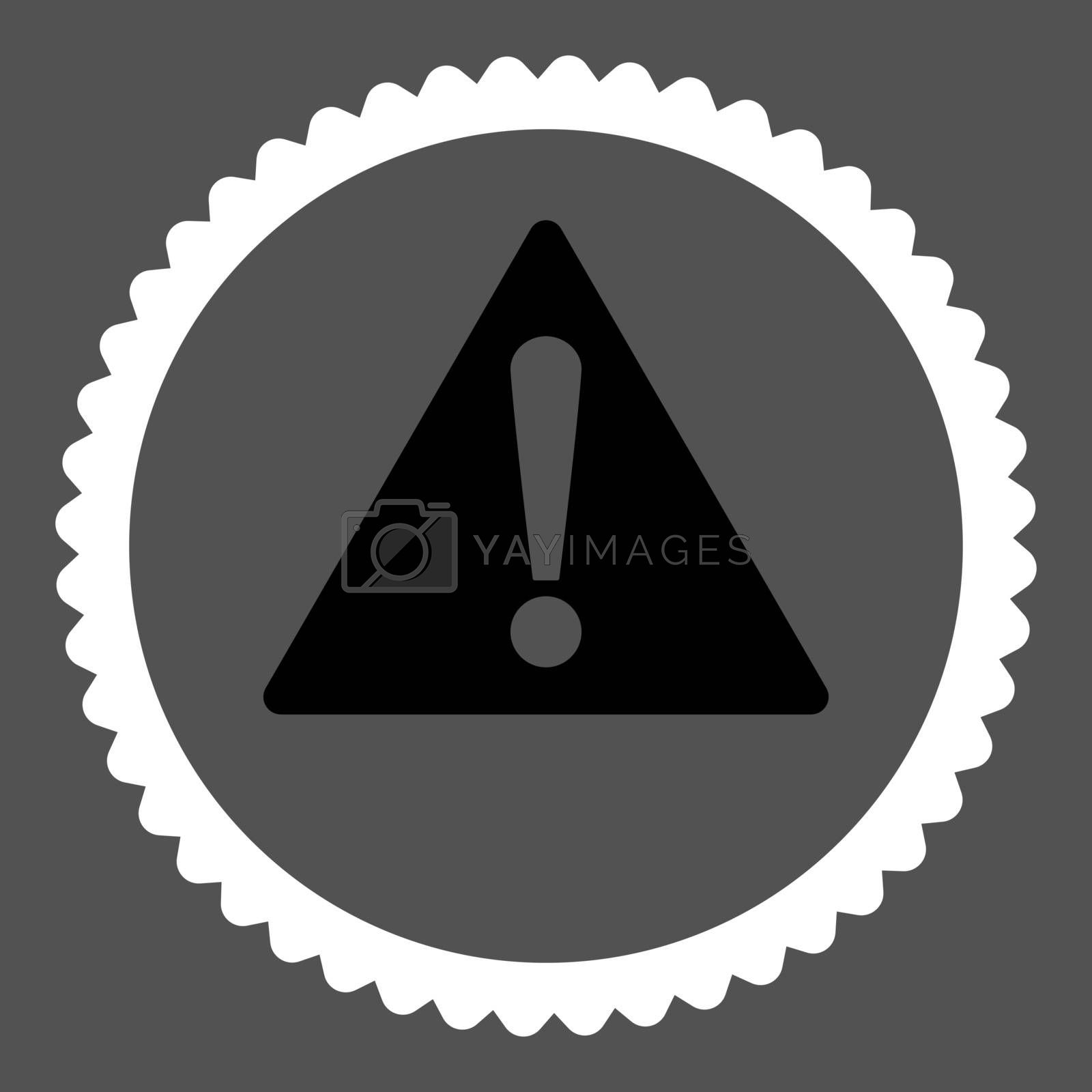 Warning flat black and white colors round stamp icon by Aha-Soft