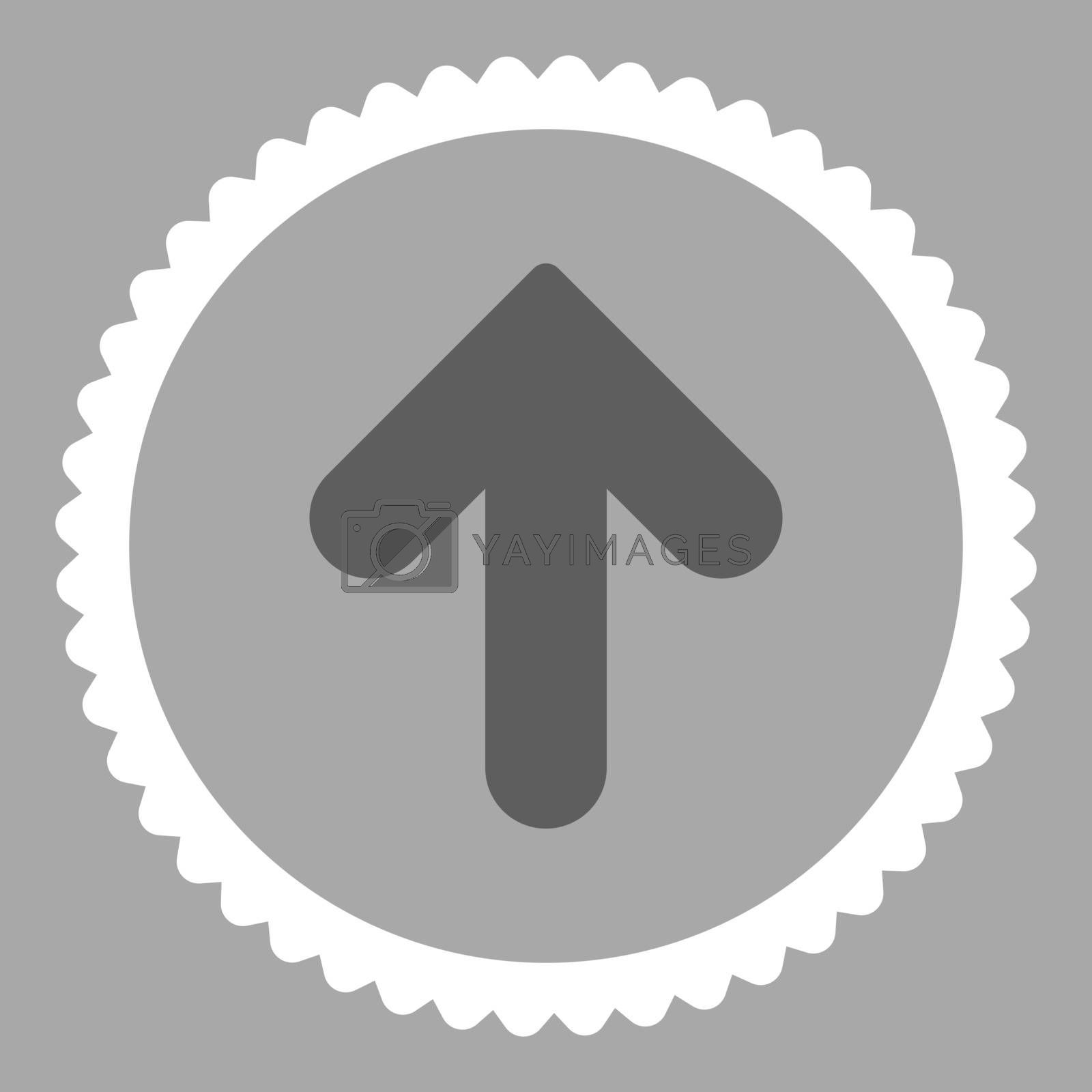 Arrow Up flat dark gray and white colors round stamp icon by Aha-Soft