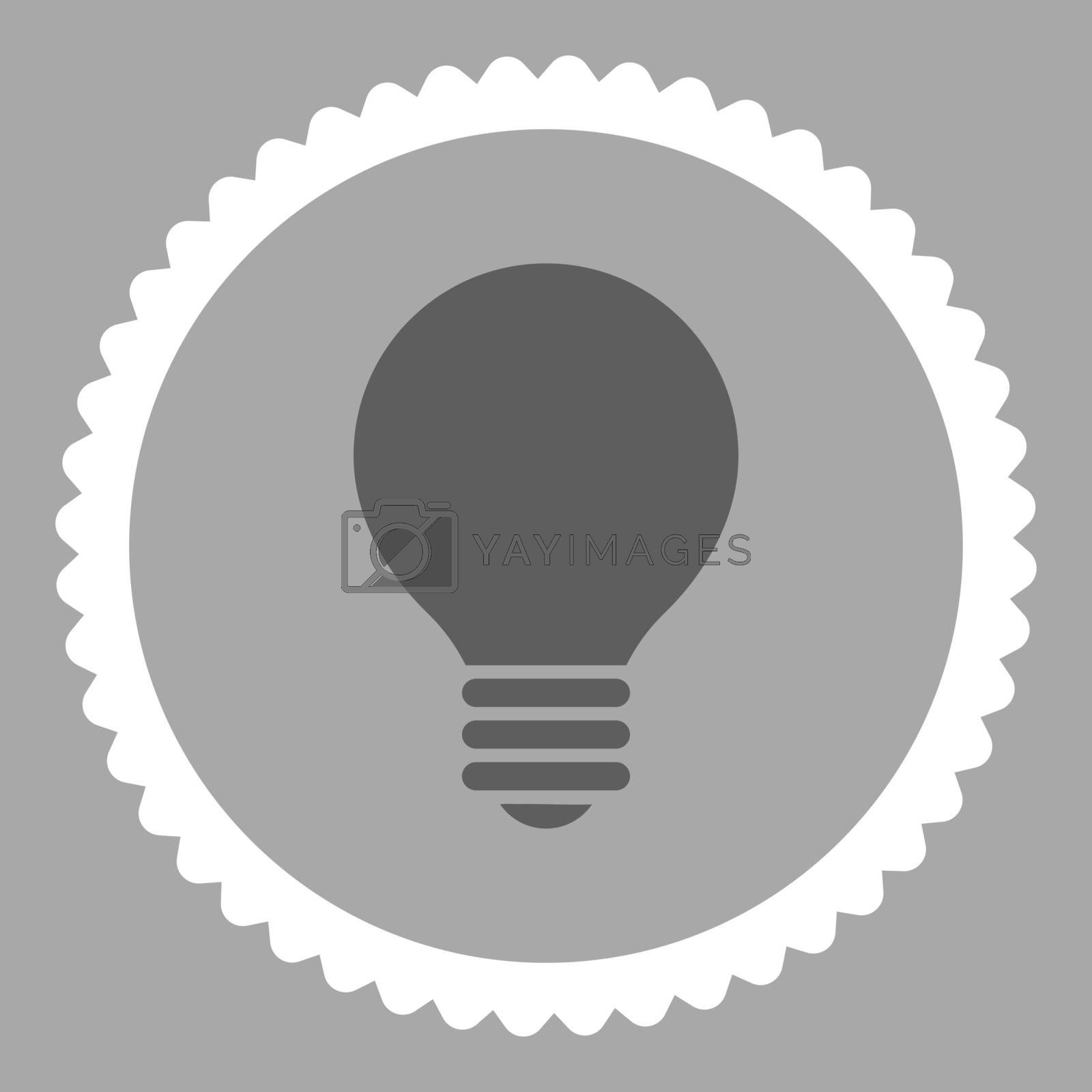 Electric Bulb flat dark gray and white colors round stamp icon by Aha-Soft