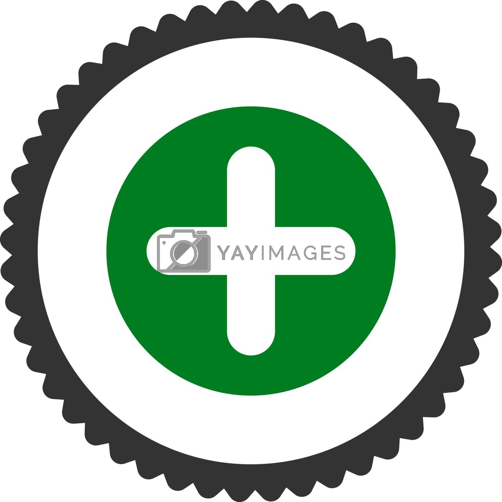 Create flat green and gray colors round stamp icon by Aha-Soft