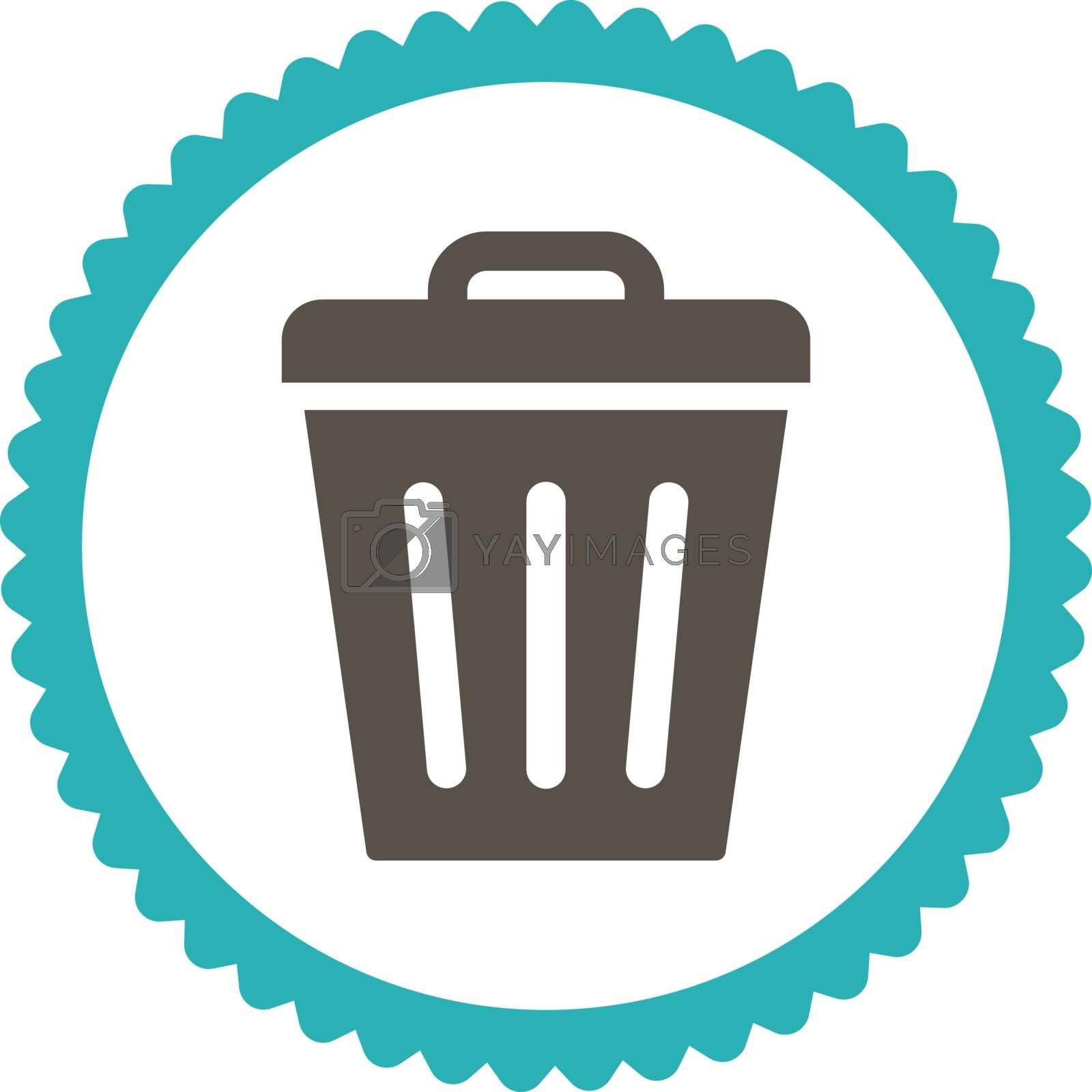 Trash Can flat grey and cyan colors round stamp icon by Aha-Soft