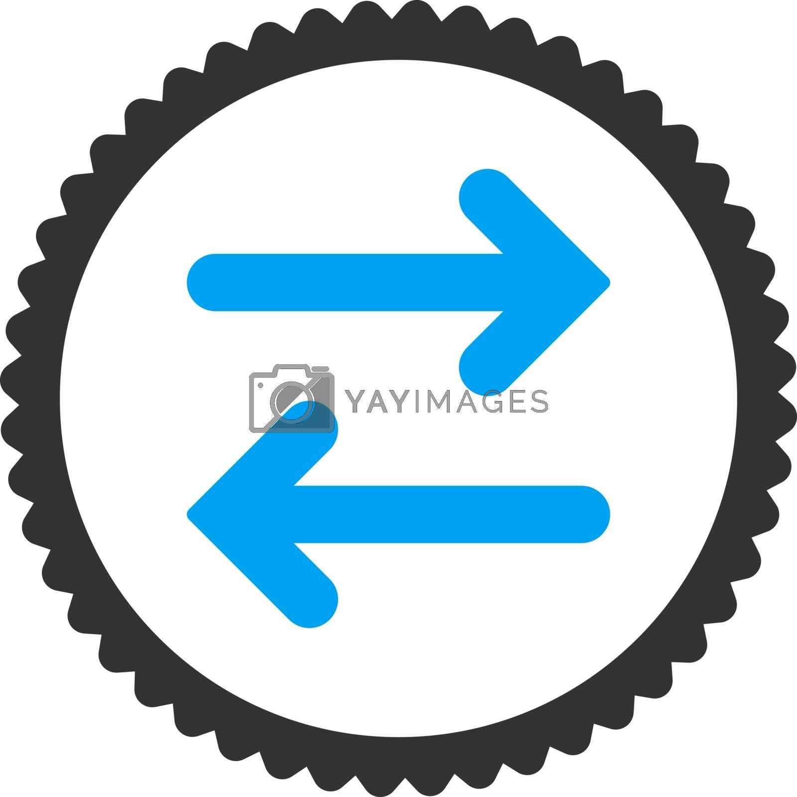 Flip Horizontal flat blue and gray colors round stamp icon by Aha-Soft