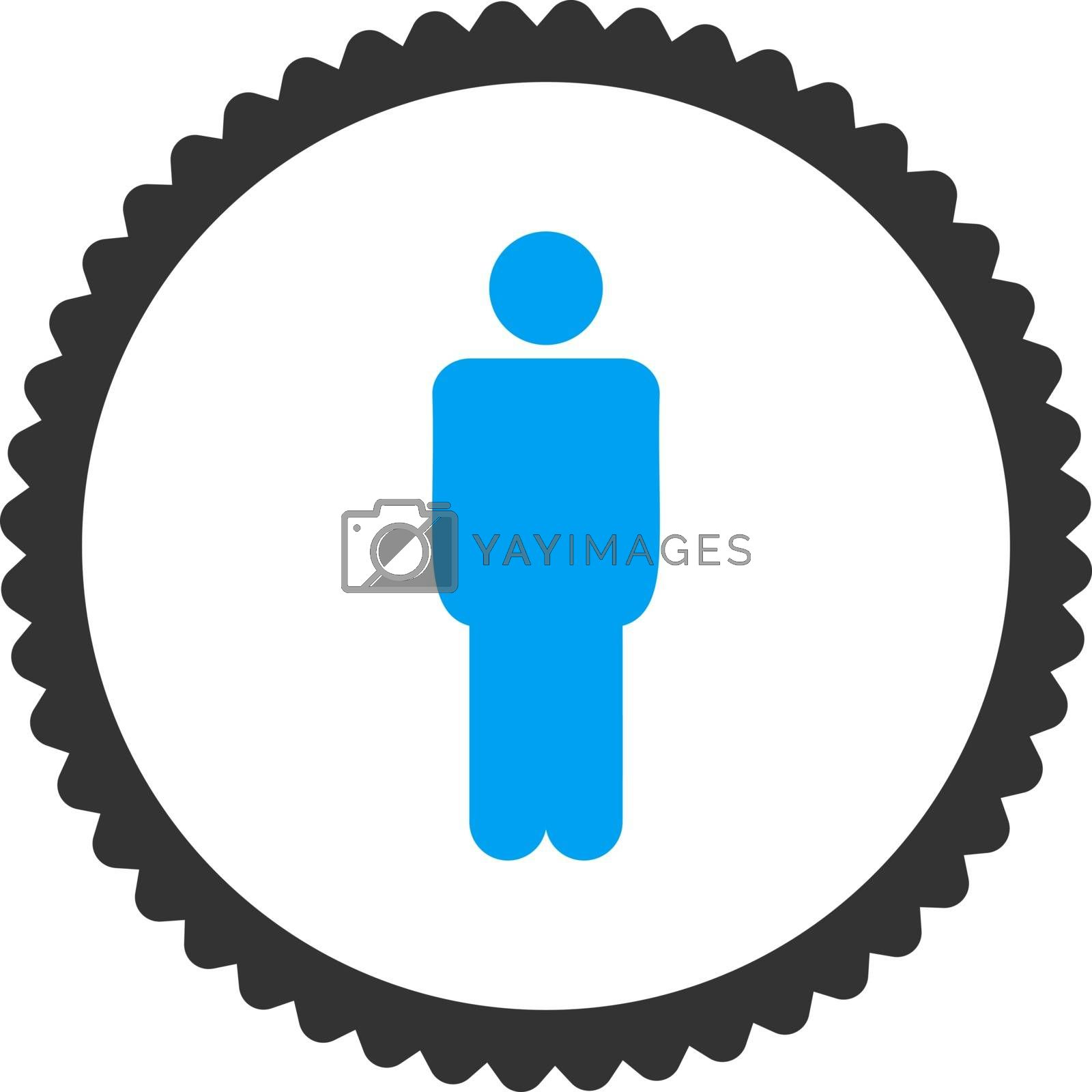 Man flat blue and gray colors round stamp icon by Aha-Soft