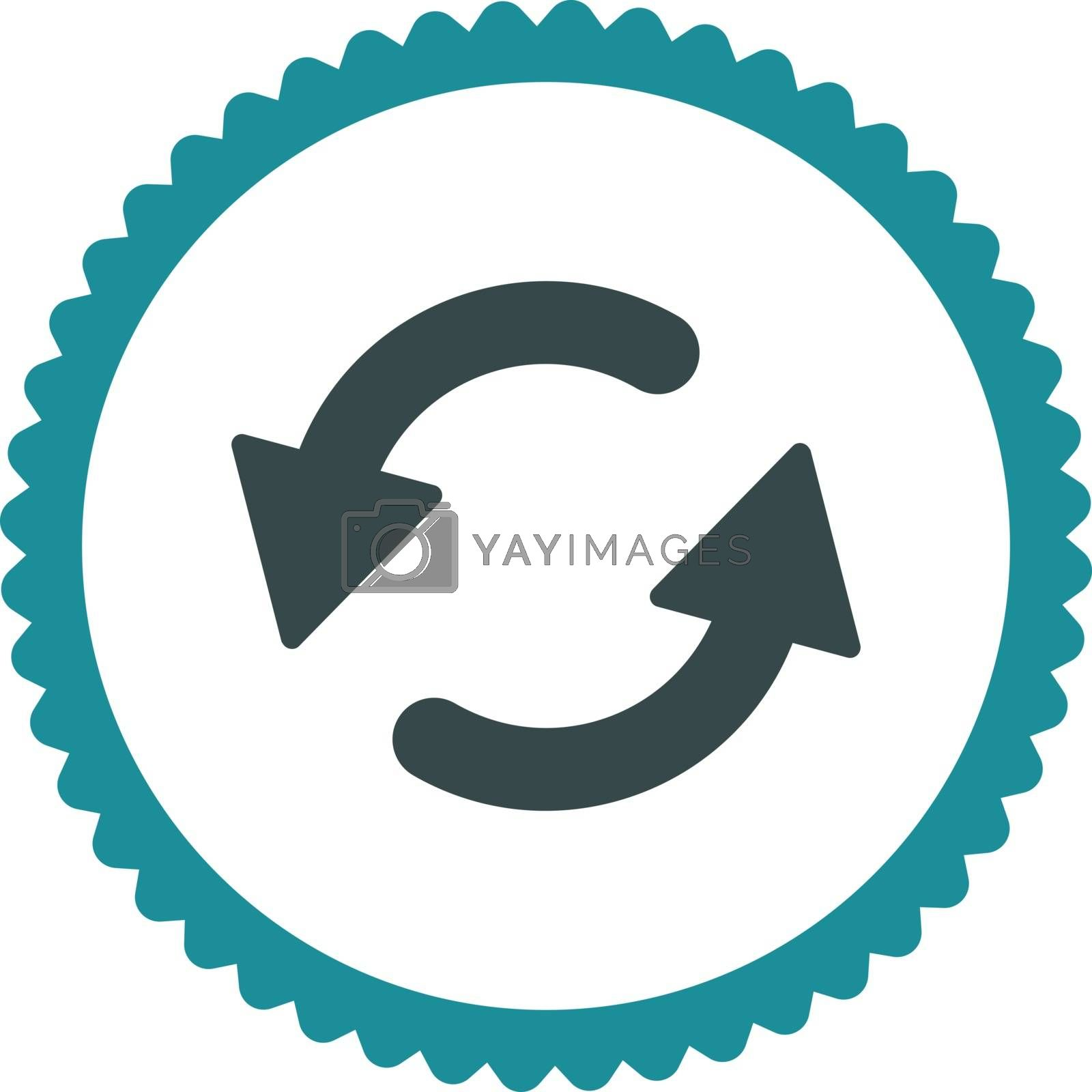 Refresh Ccw flat soft blue colors round stamp icon by Aha-Soft