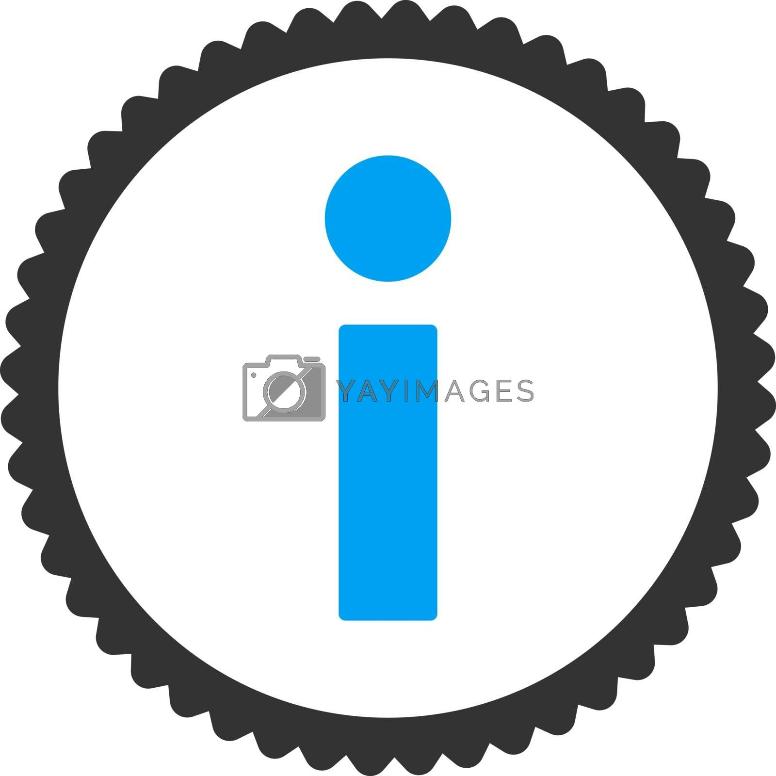 Info flat blue and gray colors round stamp icon by Aha-Soft