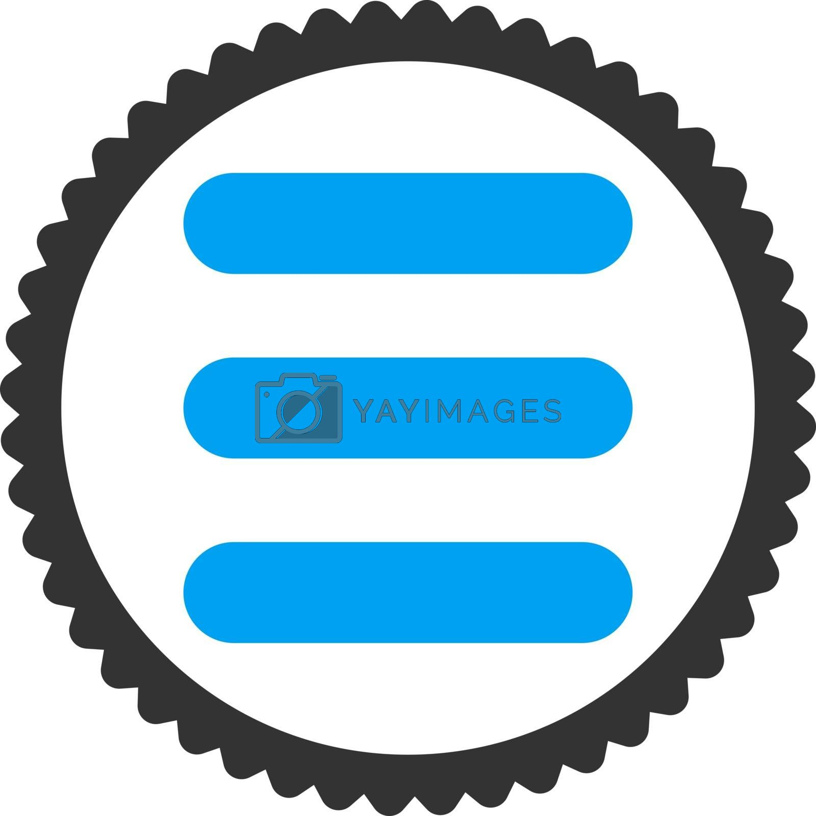 Stack flat blue and gray colors round stamp icon by Aha-Soft