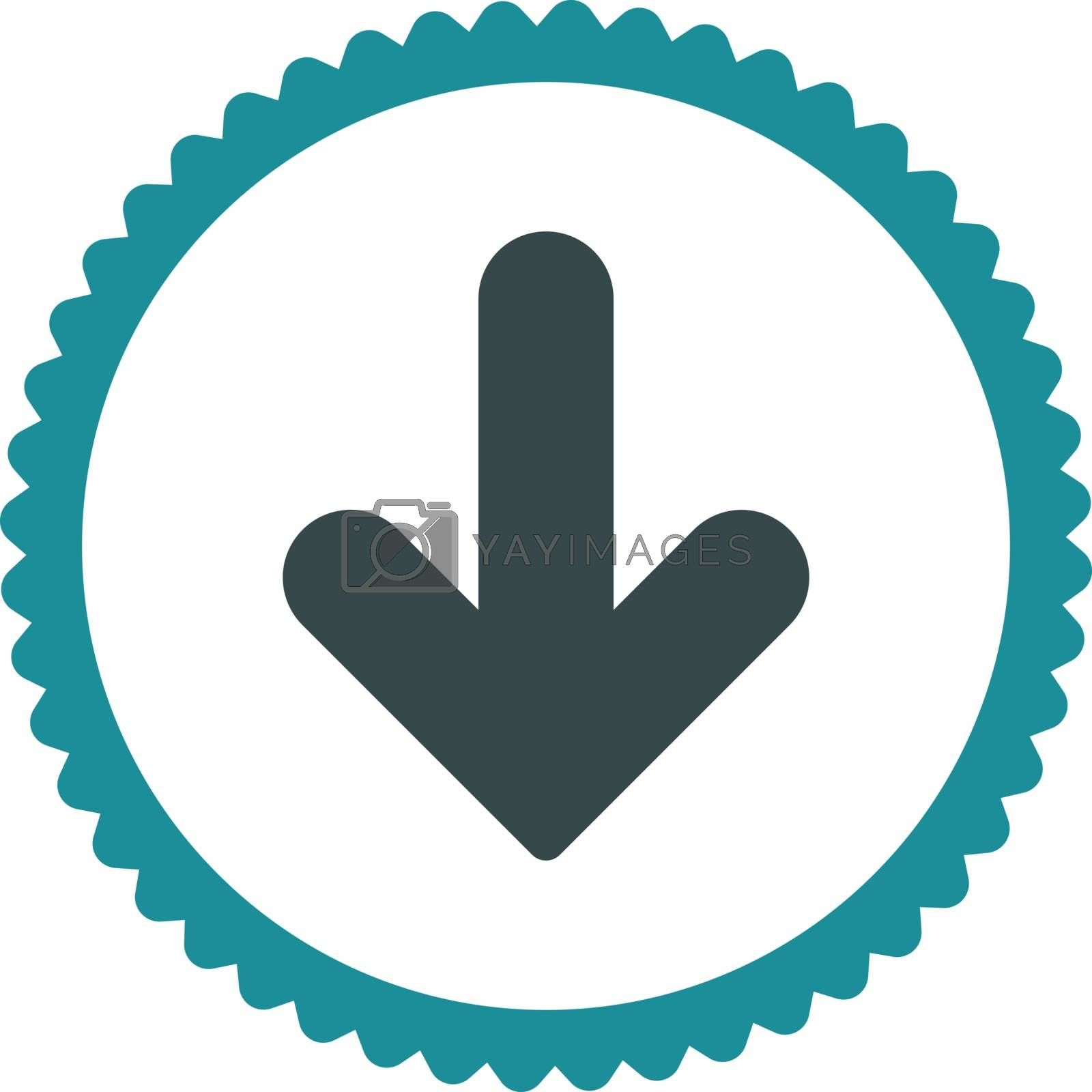 Arrow Down flat soft blue colors round stamp icon by Aha-Soft