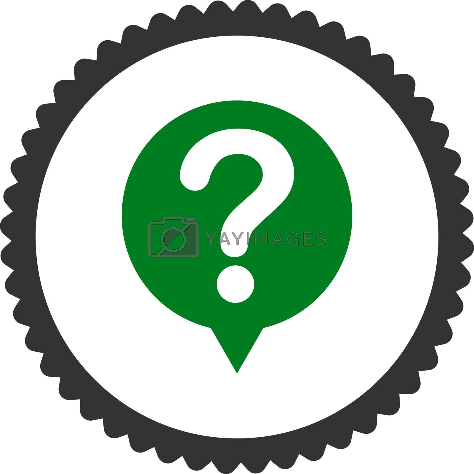 Status flat green and gray colors round stamp icon by Aha-Soft