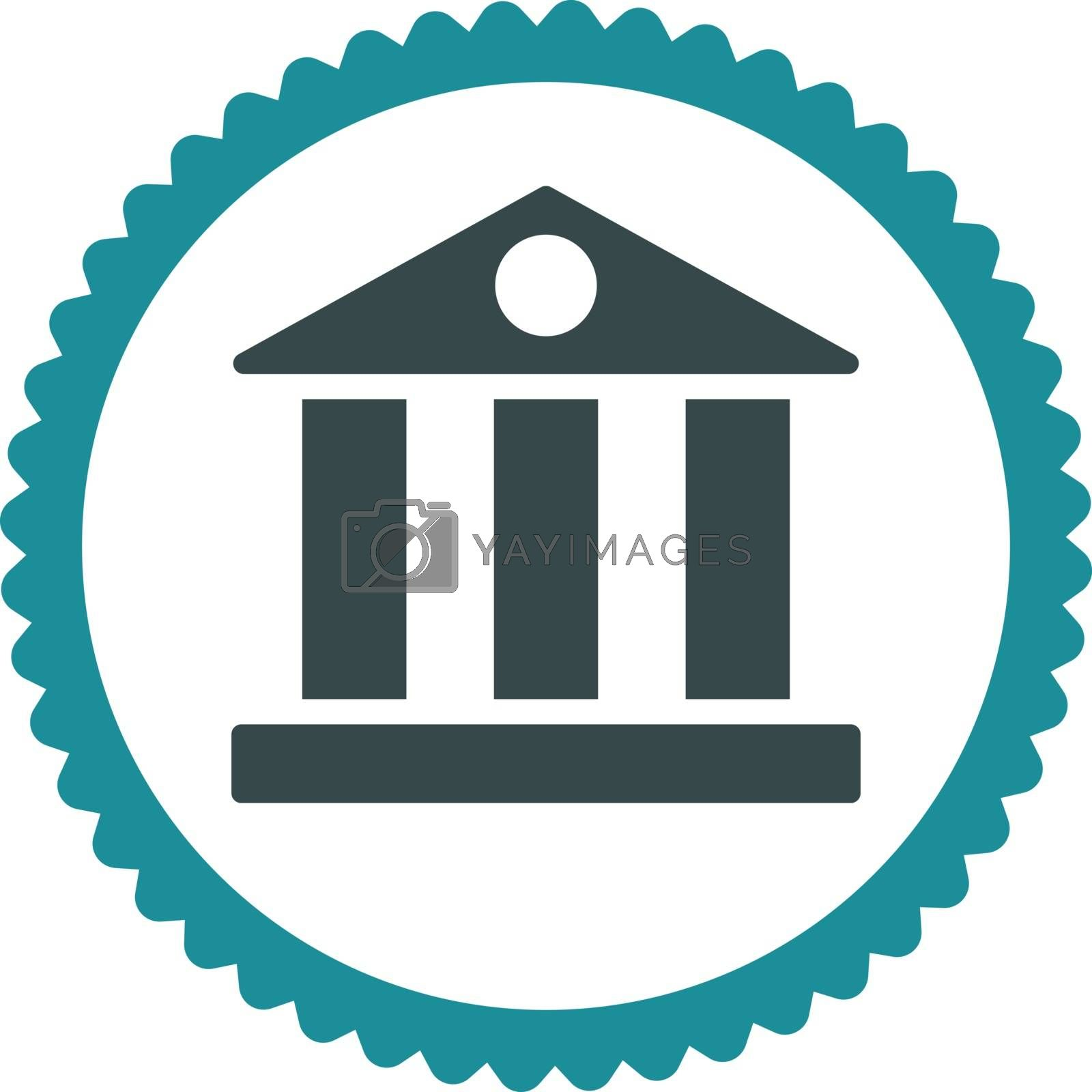 Bank flat soft blue colors round stamp icon by Aha-Soft
