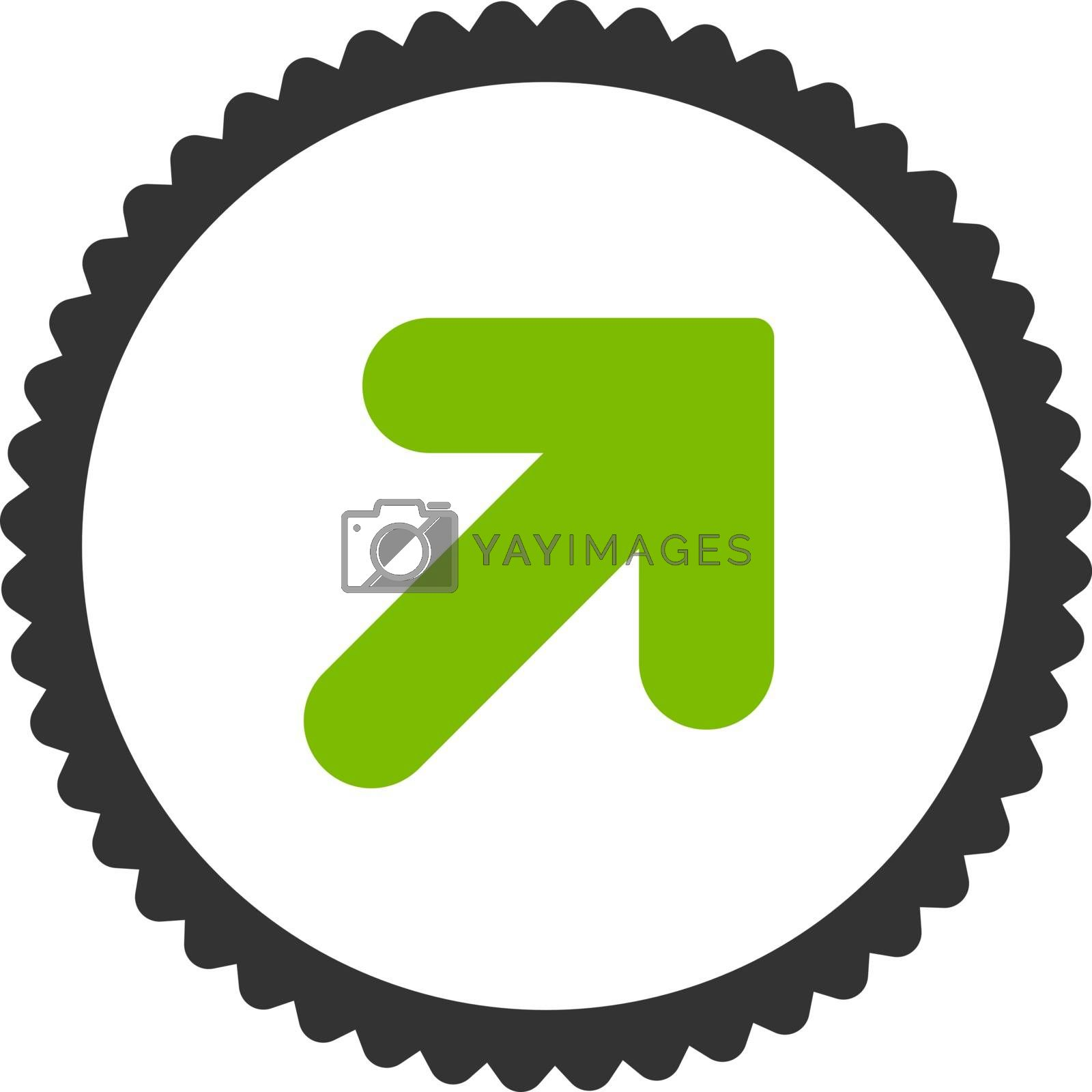 Arrow Up Right flat eco green and gray colors round stamp icon by Aha-Soft