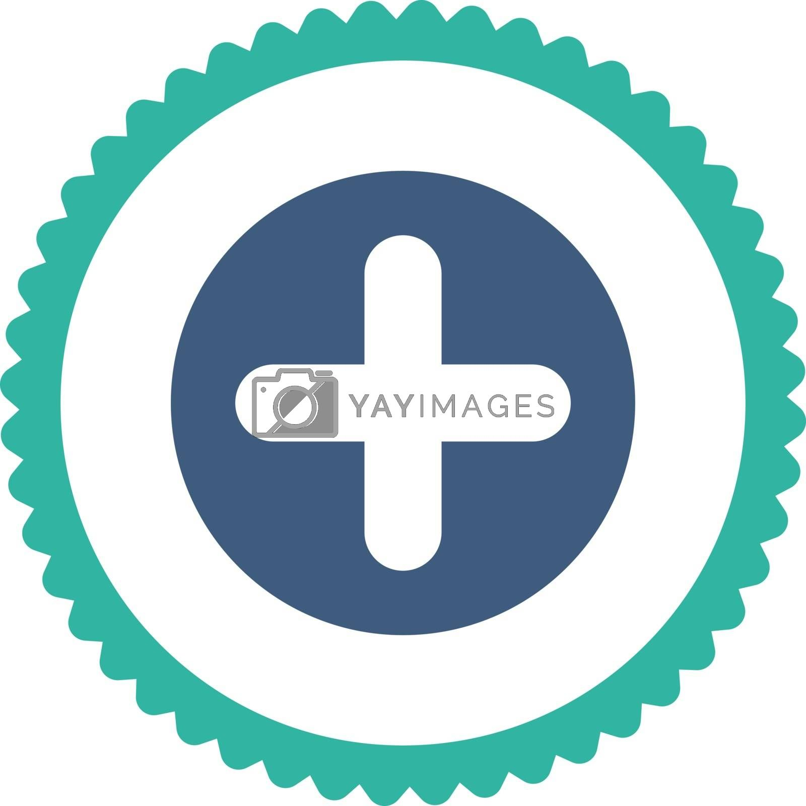 Create flat cobalt and cyan colors round stamp icon by Aha-Soft