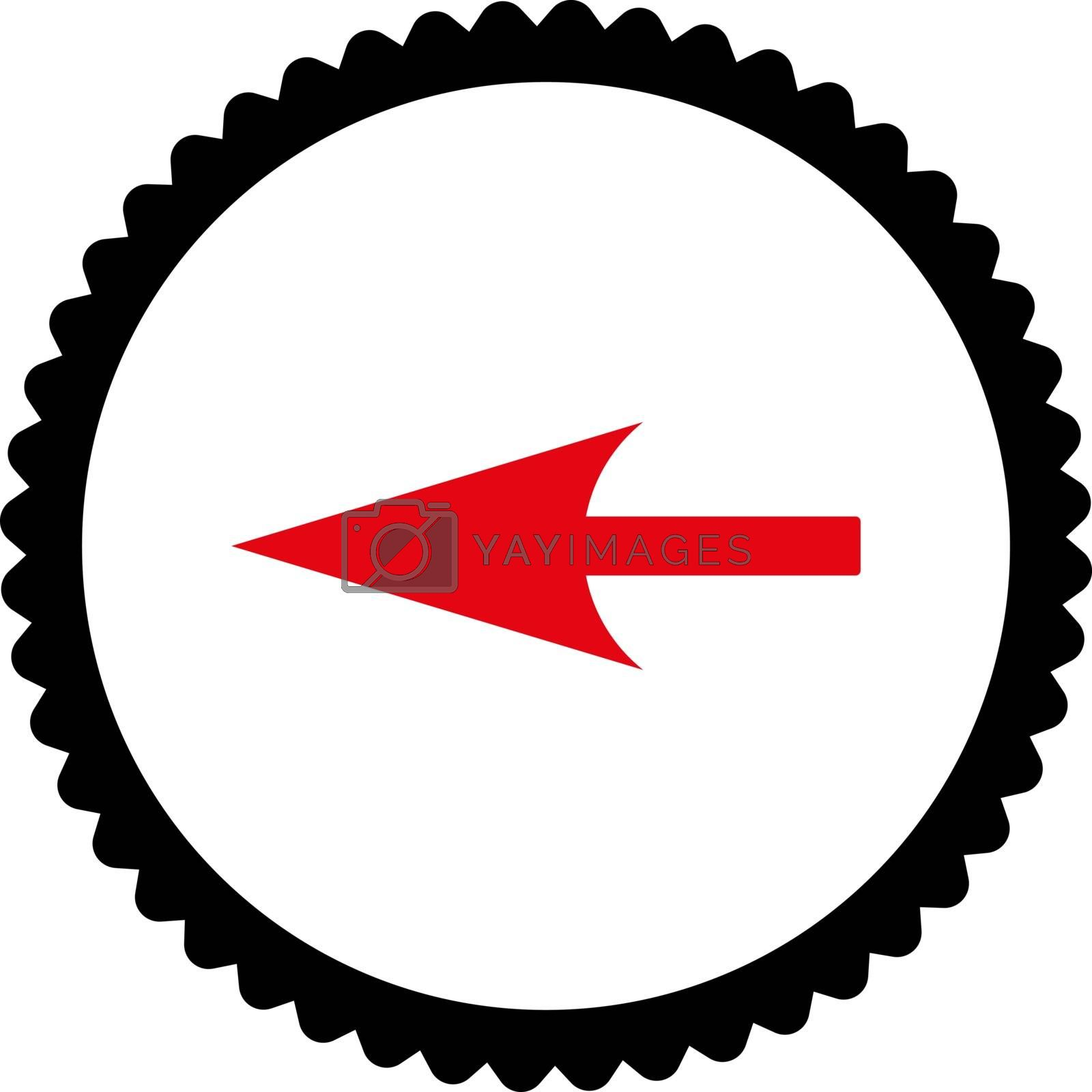 Sharp Left Arrow flat intensive red and black colors round stamp icon by Aha-Soft