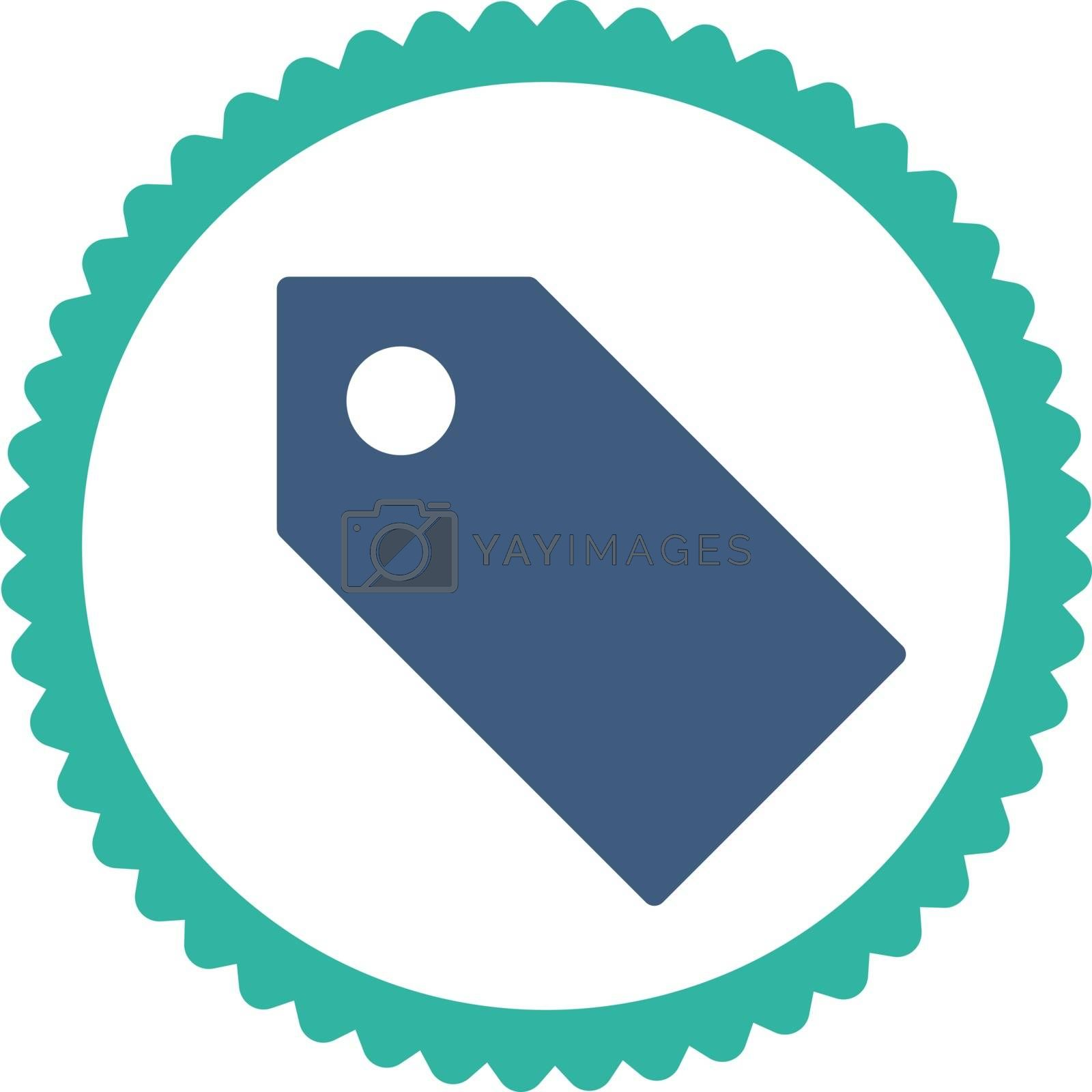 Tag flat cobalt and cyan colors round stamp icon by Aha-Soft